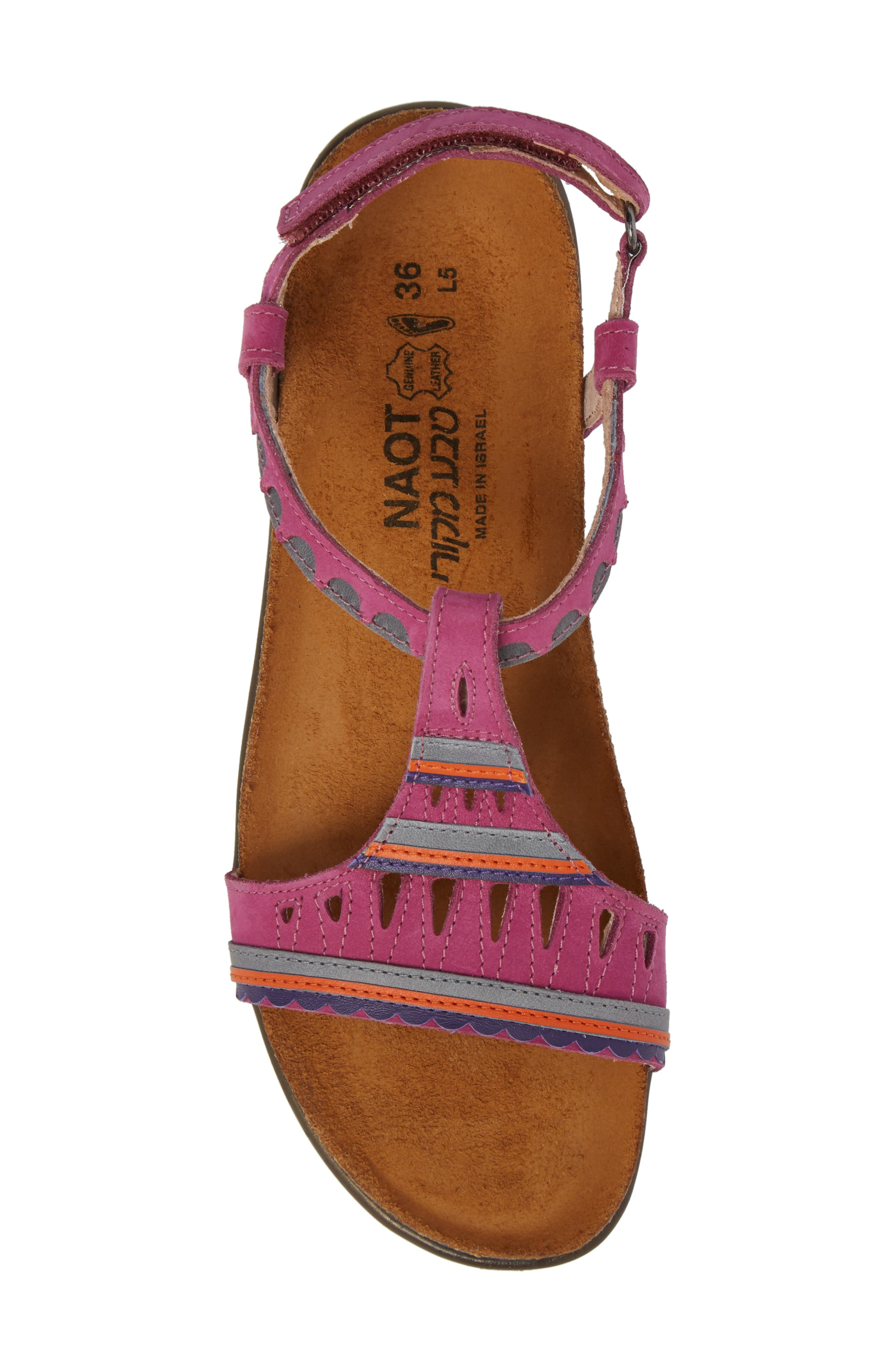 Odelia Perforated T-Strap Sandal,                             Alternate thumbnail 5, color,                             PINK PLUM NUBUCK