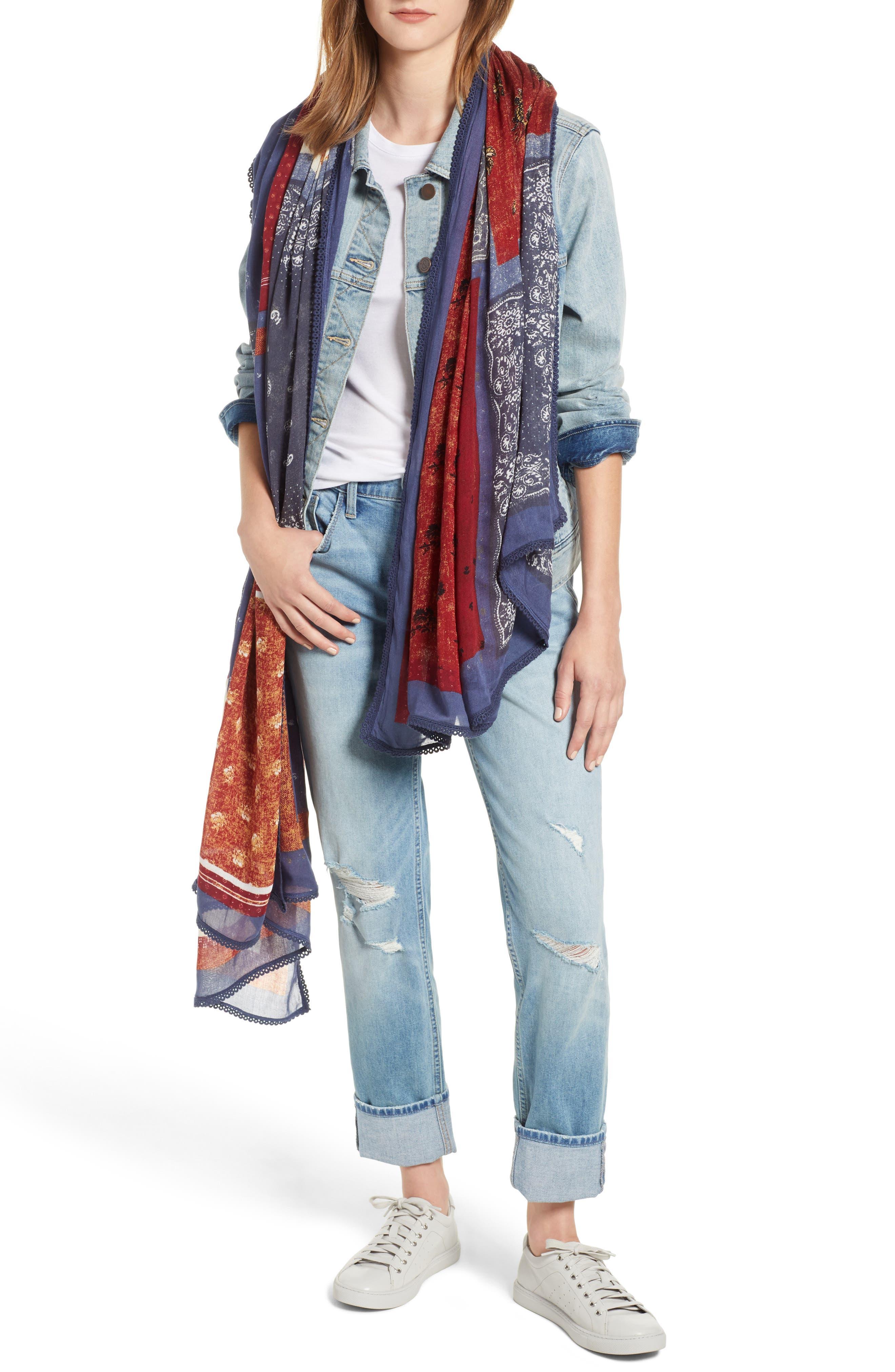 Floral Wrap,                         Main,                         color, BLUE GEO MEDLEY