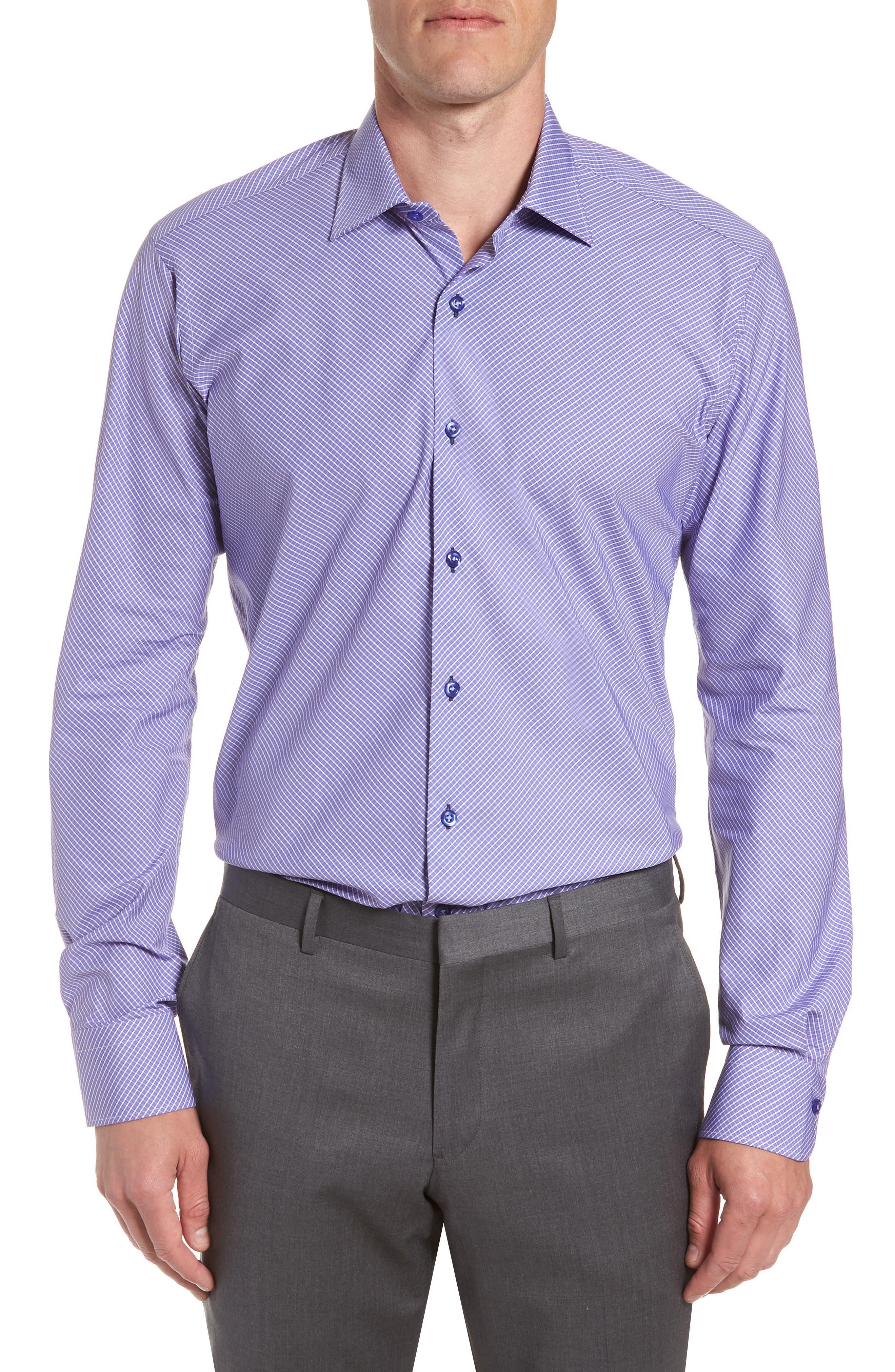 Regular Fit Check Dress Shirt,                         Main,                         color, PURPLE