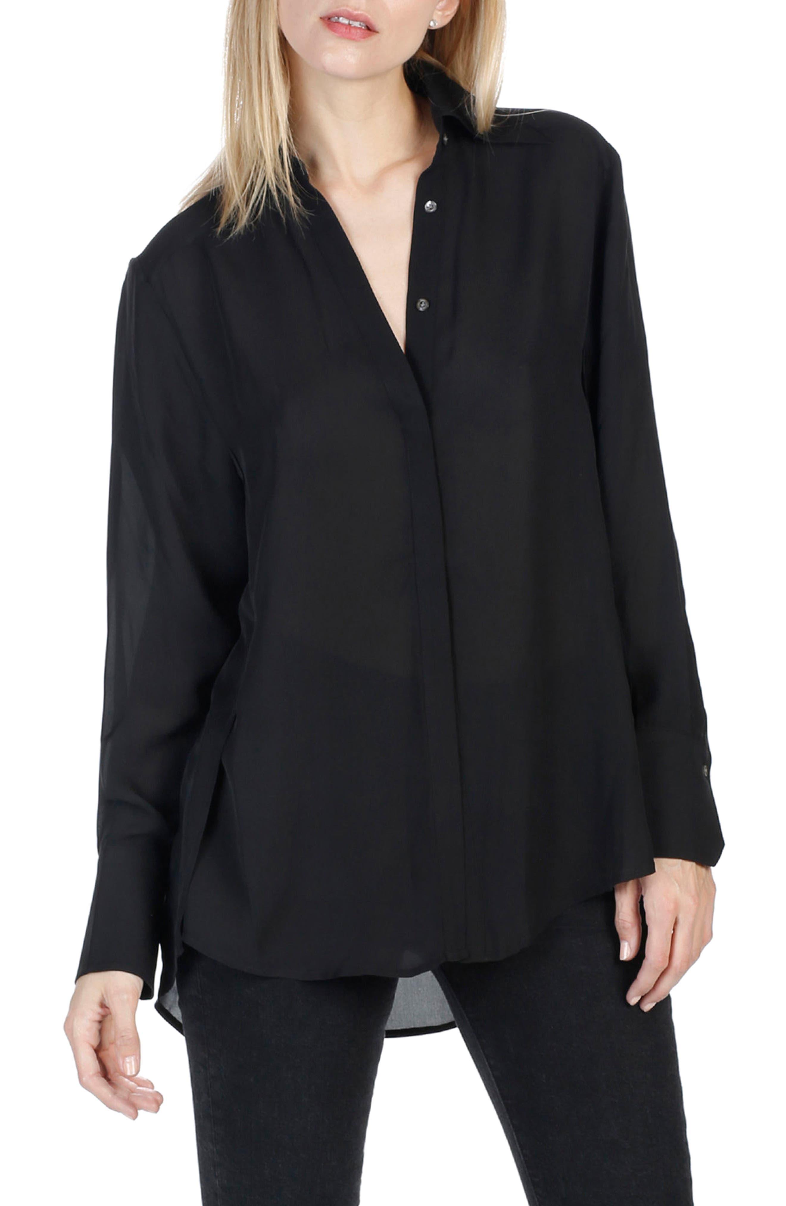 Clemence Silk Shirt,                             Alternate thumbnail 2, color,                             001
