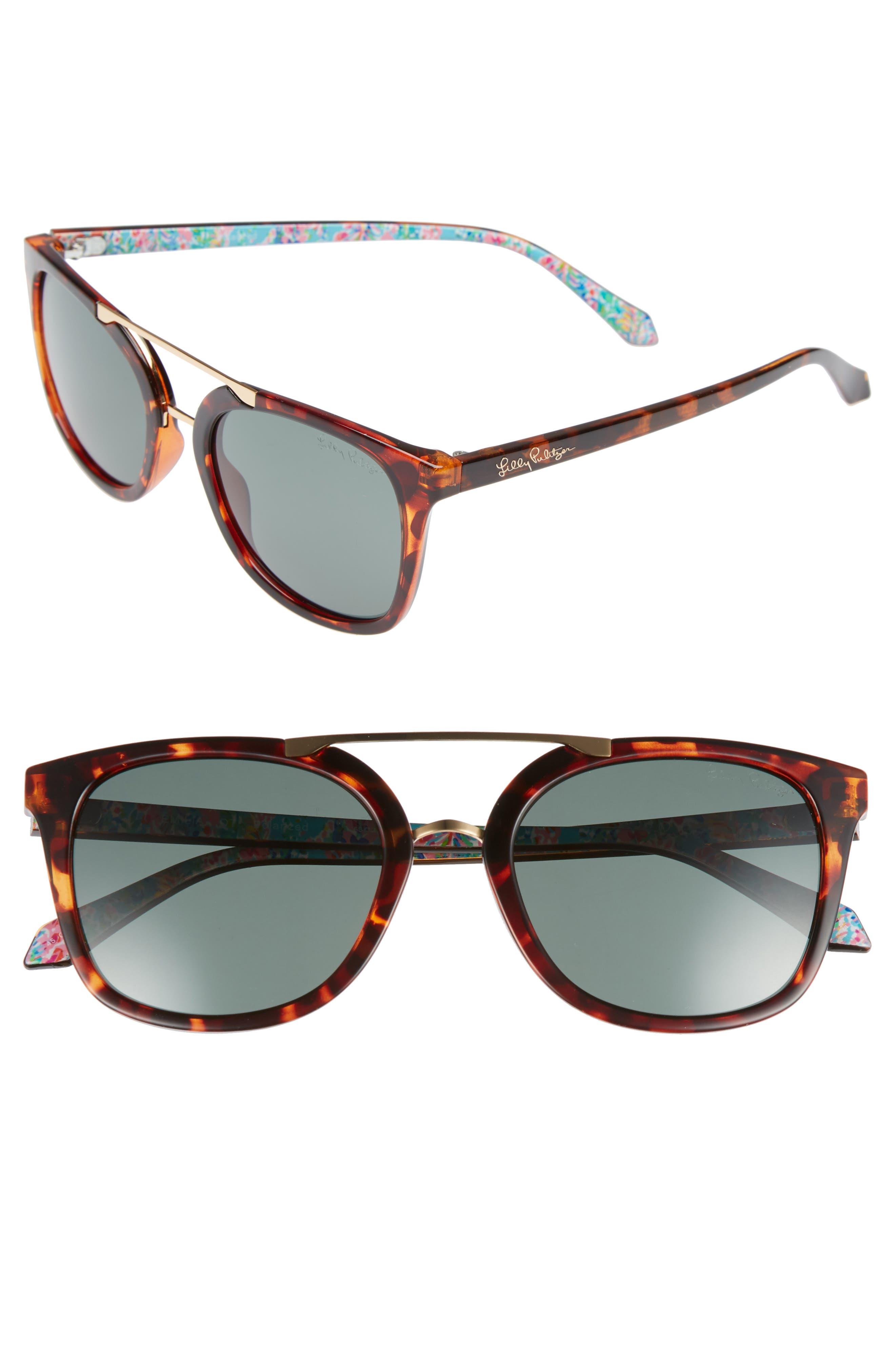 Lilly Pulitzer Emilia 53mm Polarized Sunglasses,                         Main,                         color, DARK TORTOISE/ GREEN