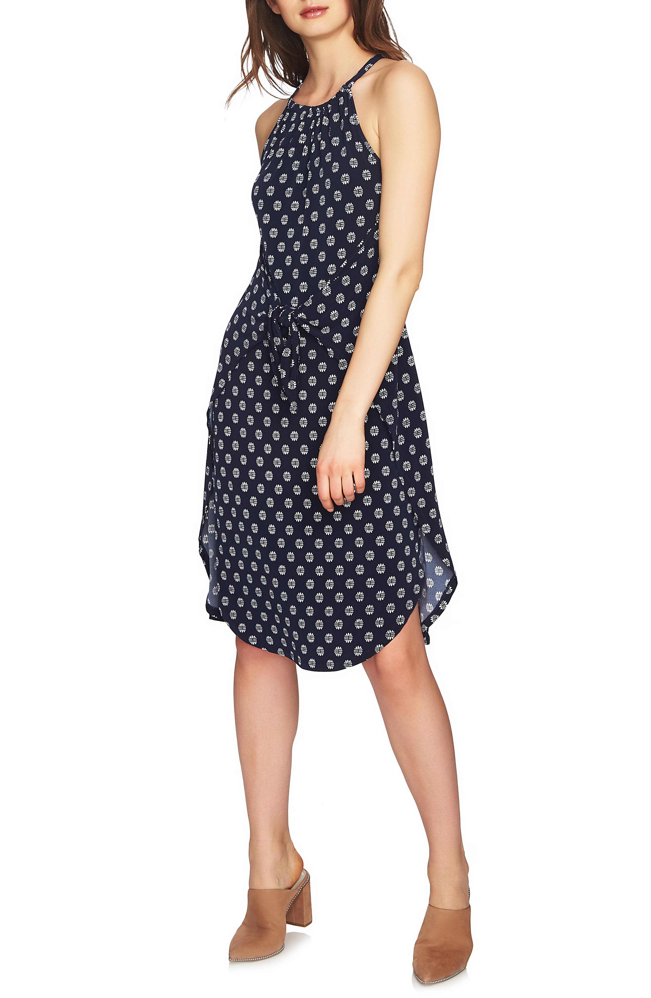 Tie Front Halter Style Dress,                             Alternate thumbnail 3, color,                             NIGHT NAVY