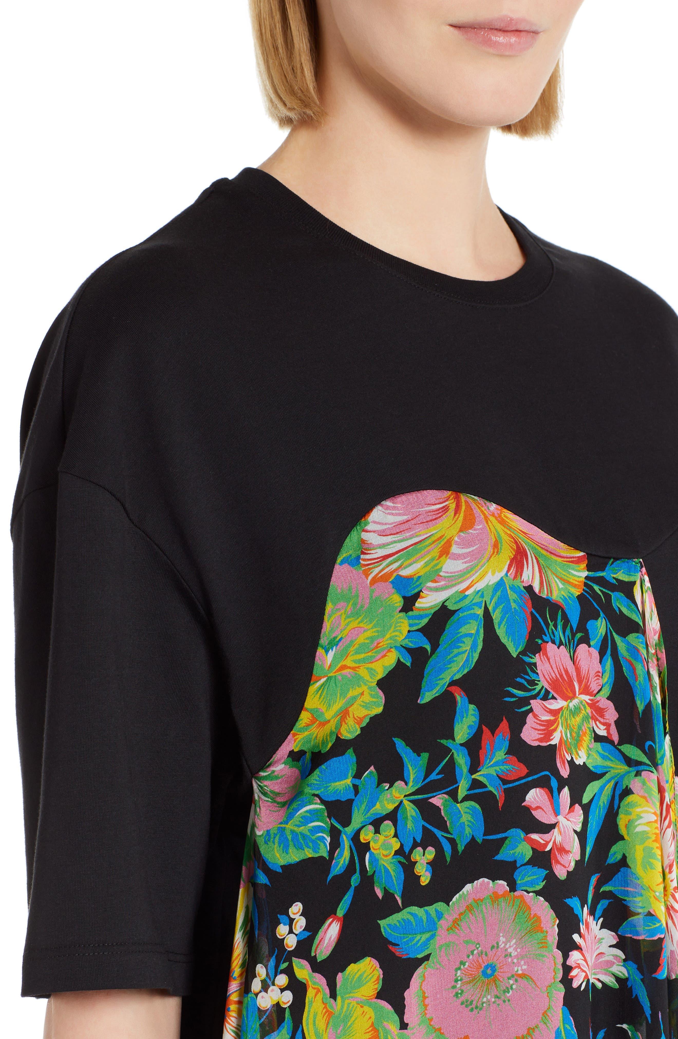 Chiffon Panel T-Shirt Dress,                             Alternate thumbnail 4, color,                             009