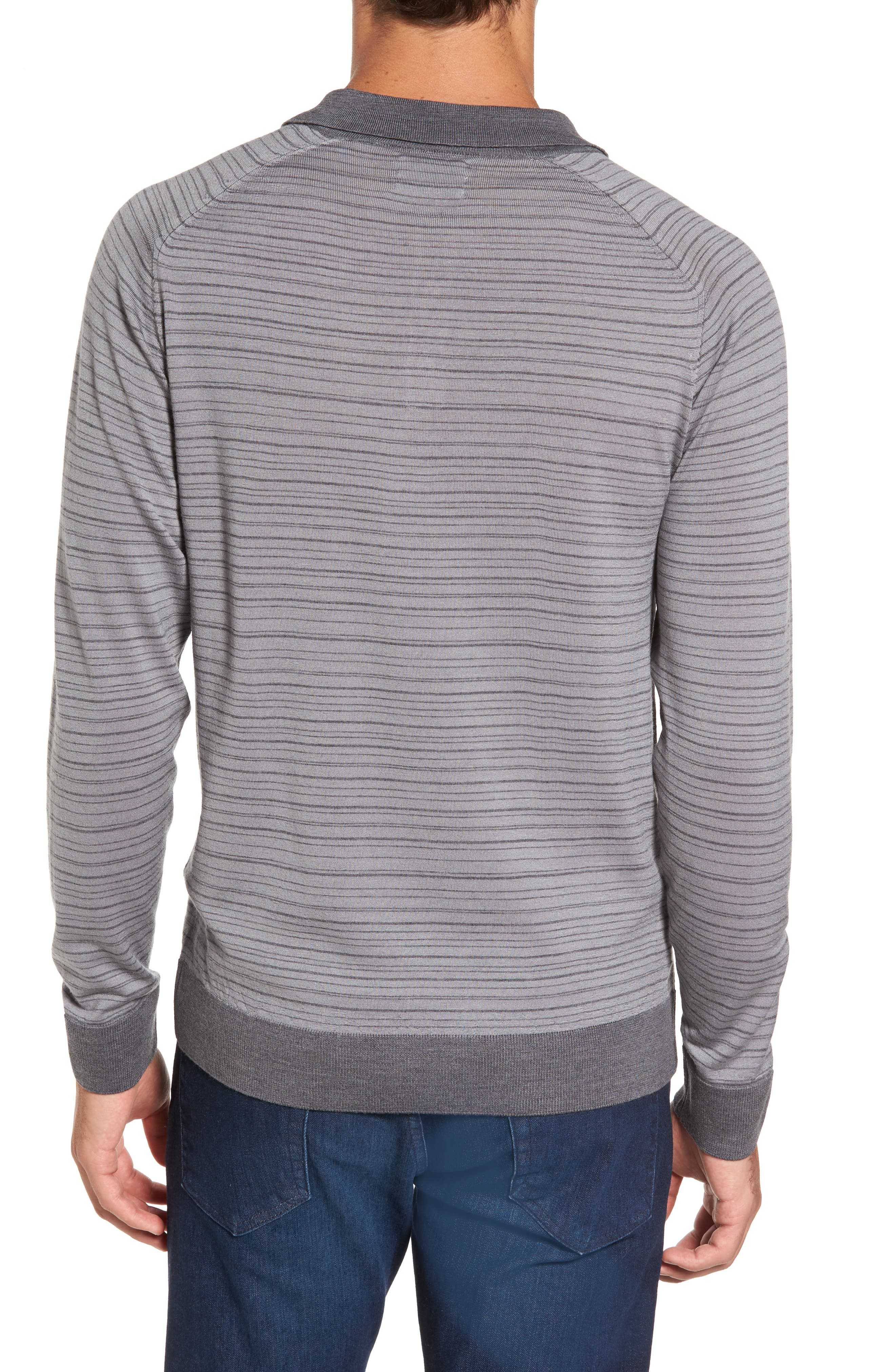 Stripe Merino Wool Polo Sweater,                             Alternate thumbnail 2, color,                             093