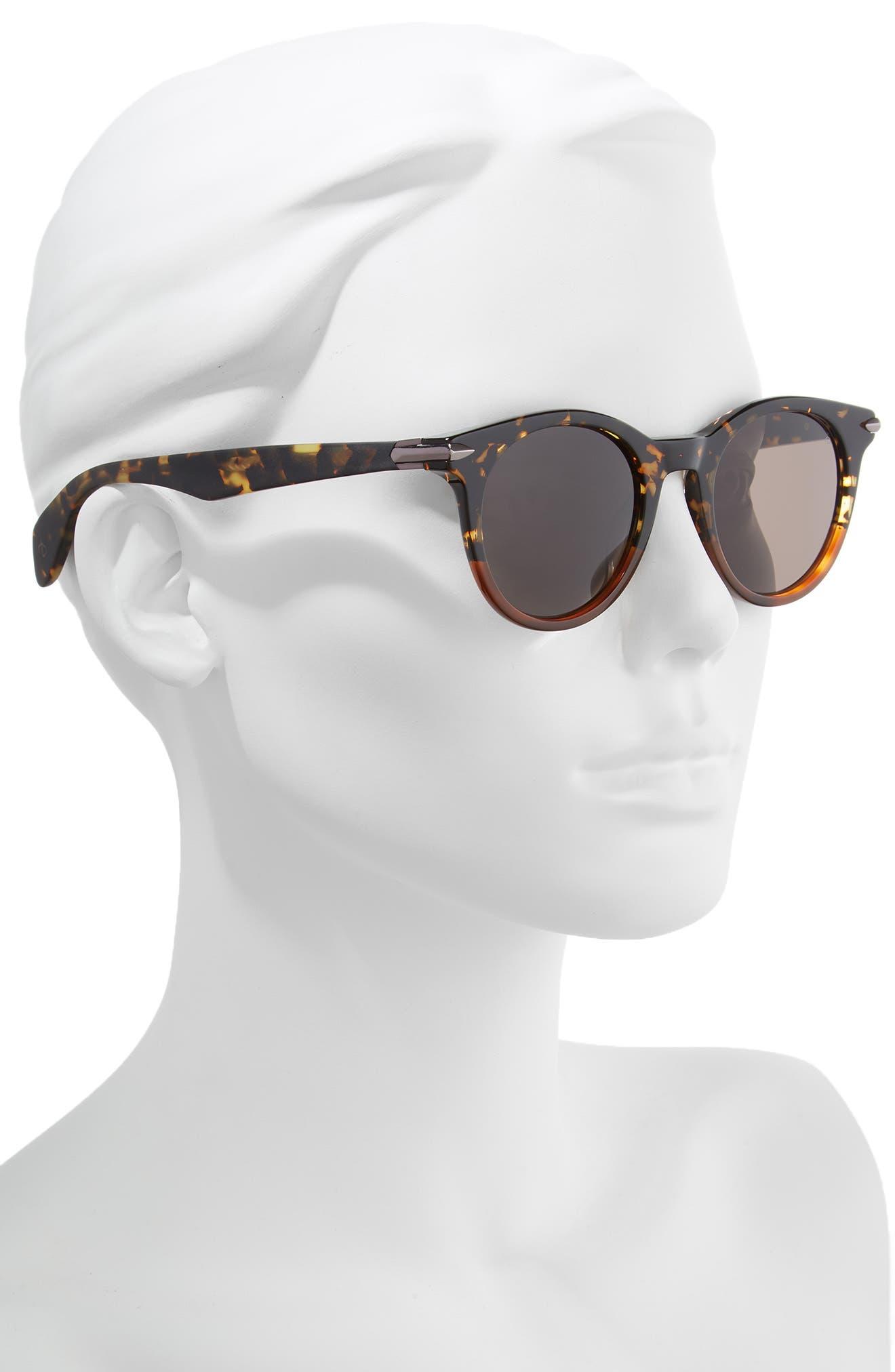 49mm Round Sunglasses,                             Alternate thumbnail 2, color,                             BLACK/ HAVANA HONEY