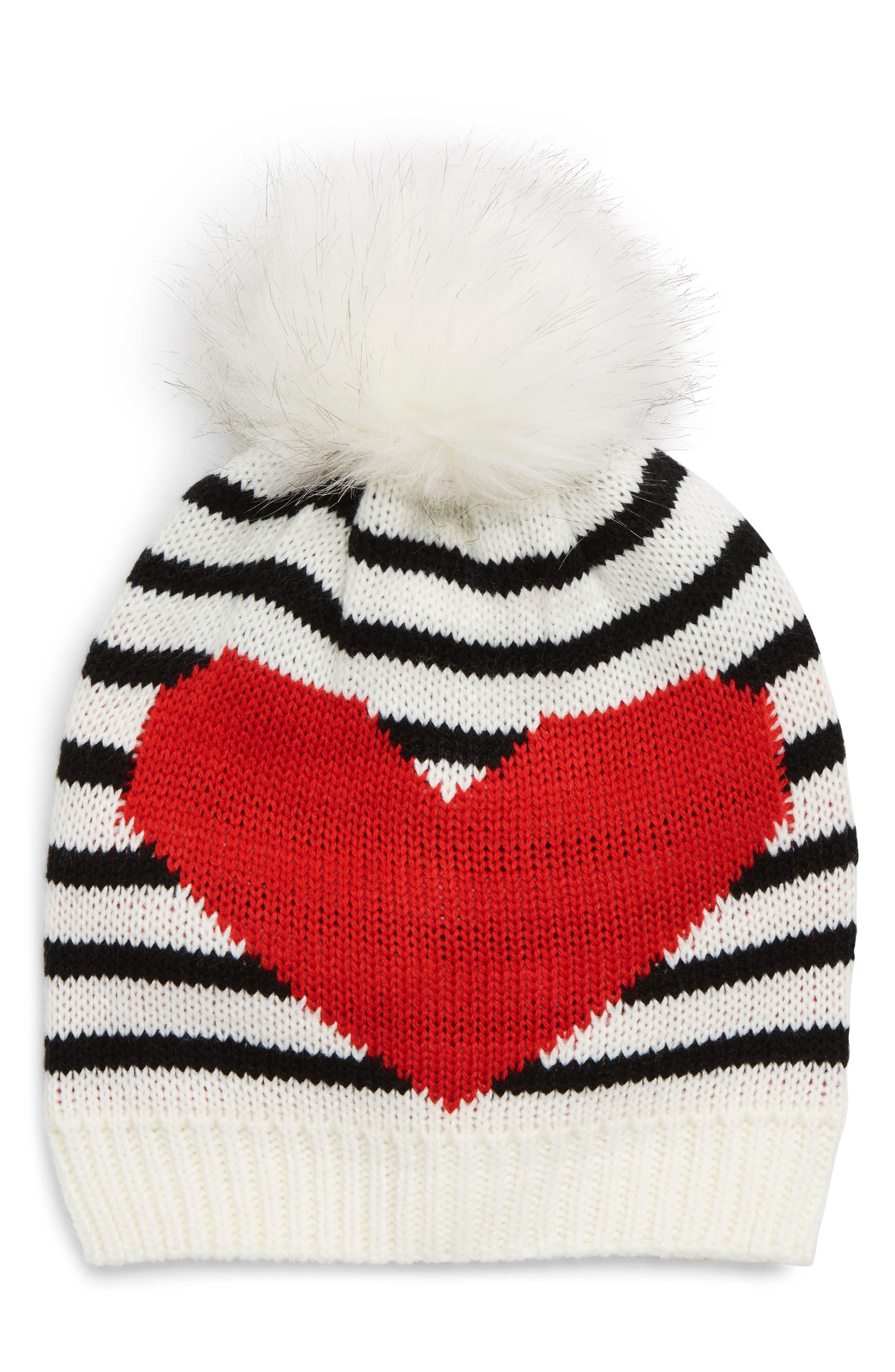 Heart U Stripe Knit Beanie with Faux Fur Pom,                         Main,                         color, 900