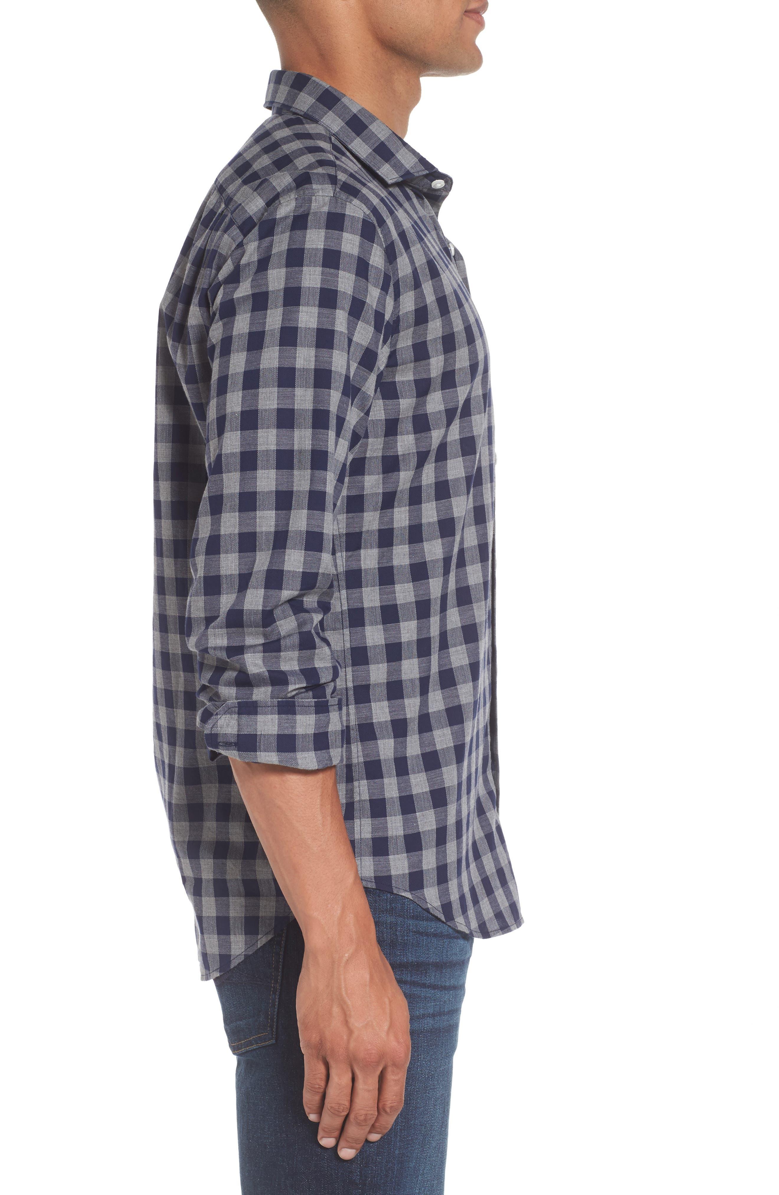 Unbutton Down Slim Fit Check Sport Shirt,                             Alternate thumbnail 3, color,                             400