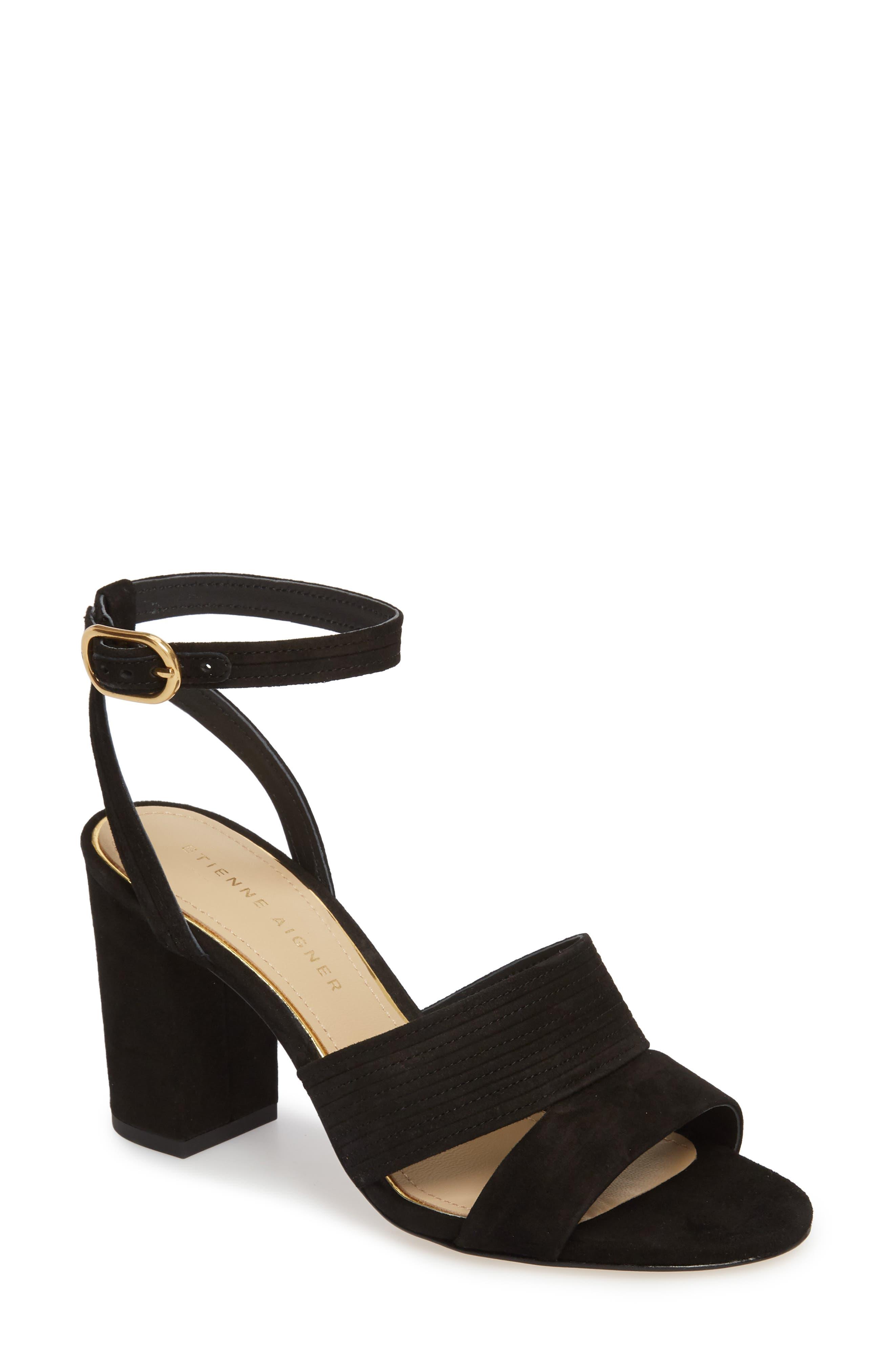 Legend Ankle Strap Sandal,                         Main,                         color, BLACK SUEDE