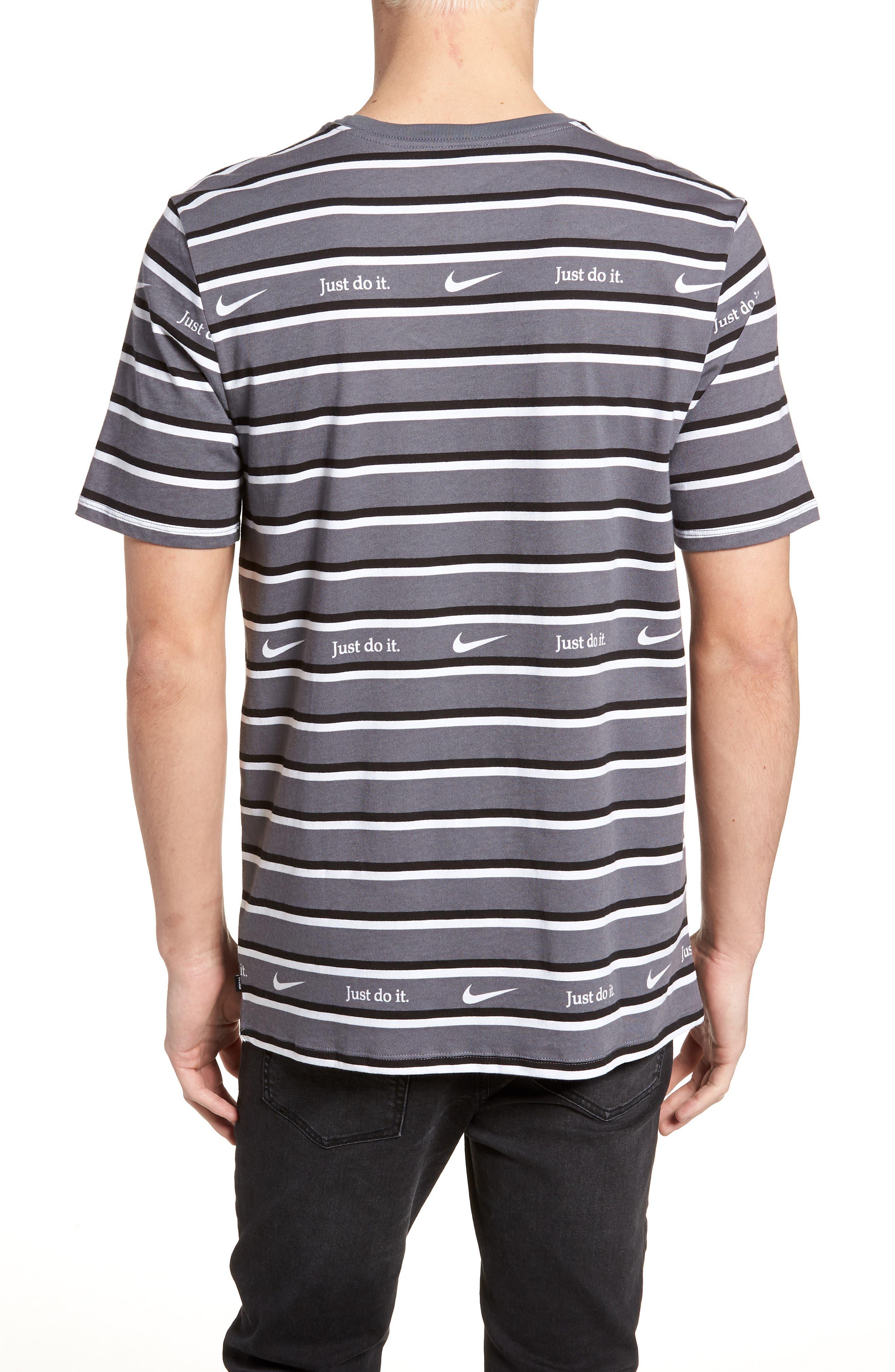 Just Do It Stripe T-Shirt,                             Alternate thumbnail 2, color,                             WHITE/ GUN SMOKE