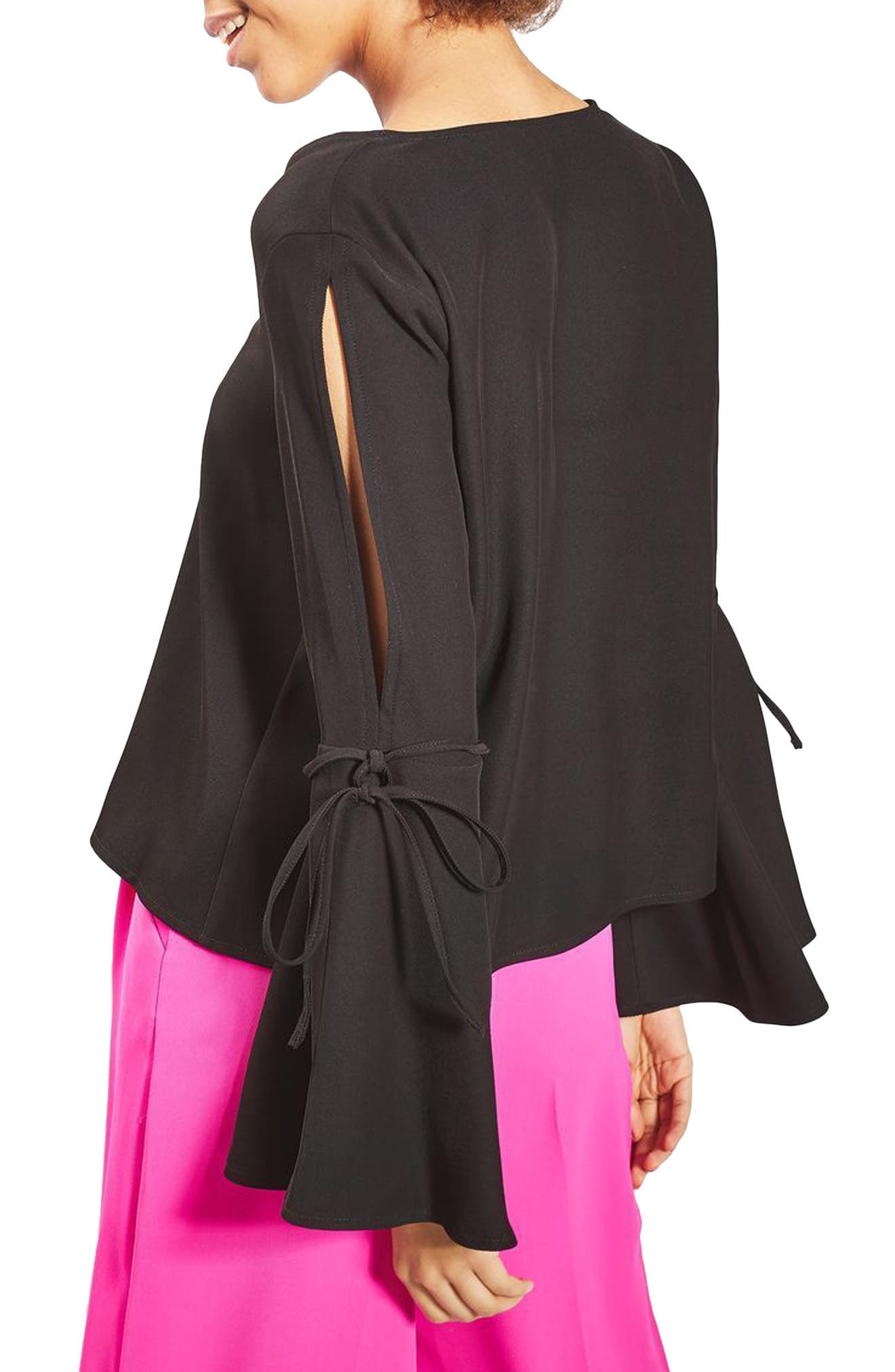 Tie Trumpet Sleeve Top,                             Alternate thumbnail 2, color,                             001