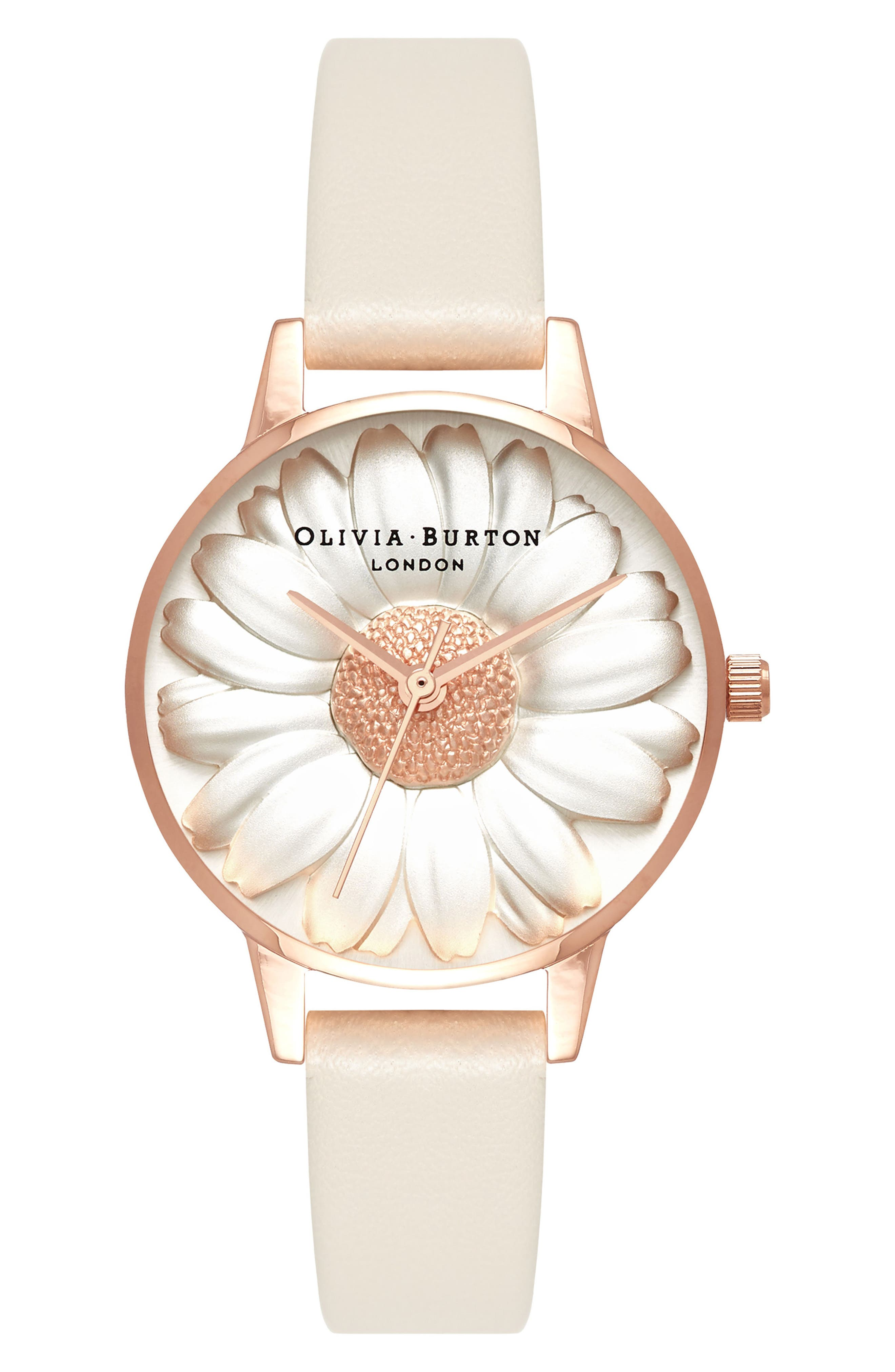 3D Daisey Faux Leather Strap Watch, 30mm,                             Main thumbnail 1, color,                             NUDE/ DAISY/ ROSE GOLD