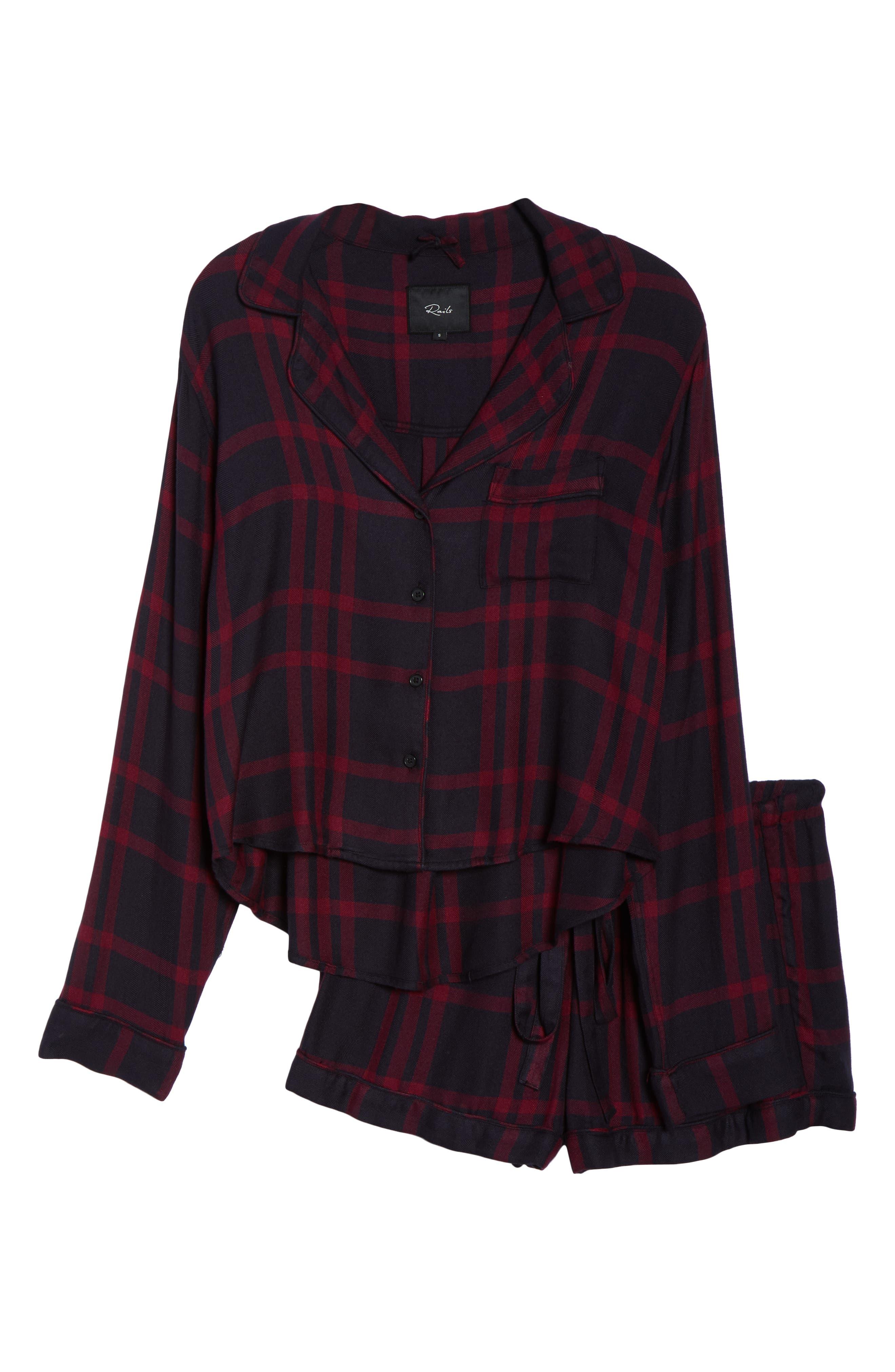 Short Pajamas,                             Alternate thumbnail 6, color,                             BLACK CHERRY