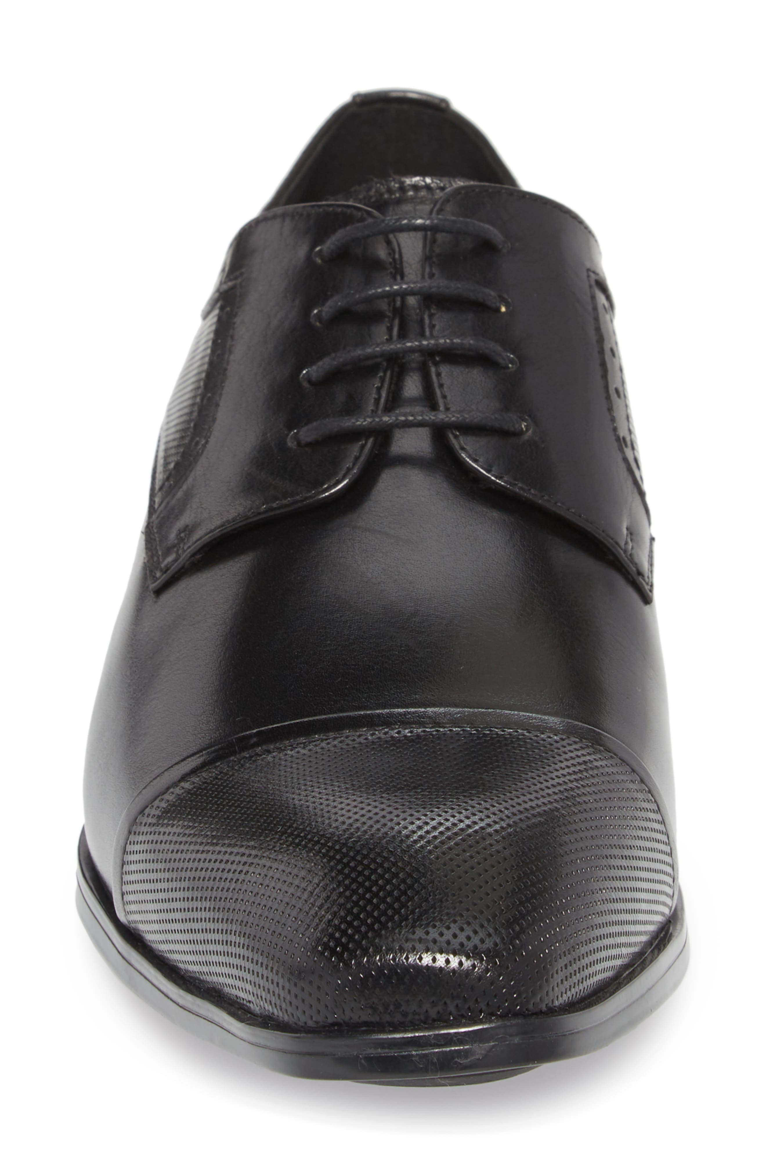 Embossed Cap Toe Derby,                             Alternate thumbnail 4, color,                             BLACK LEATHER