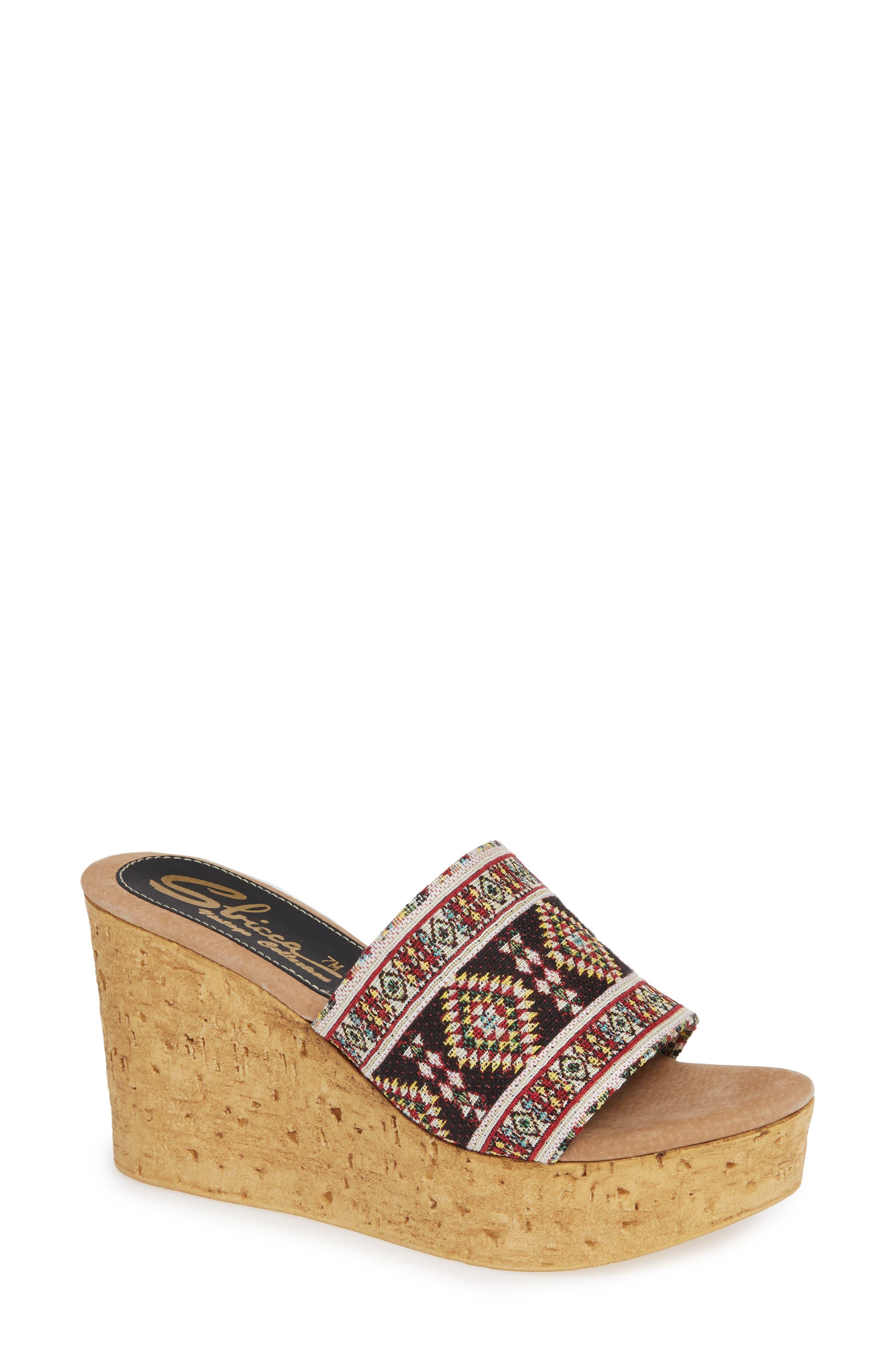 Orabela Platform Wedge Sandal,                         Main,                         color, BLACK MULTICOLOR FABRIC