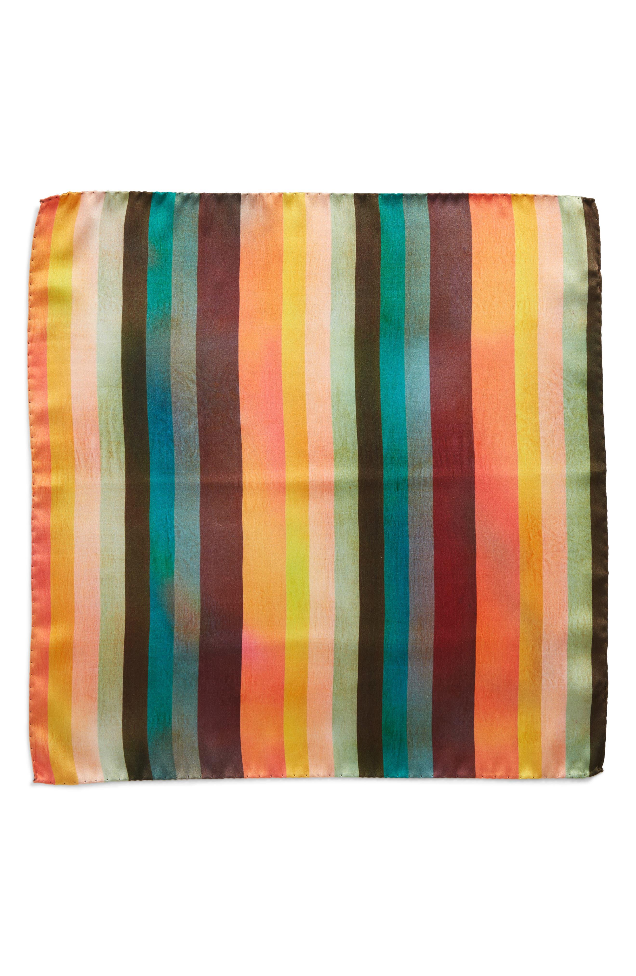 Artist Stripe Silk Pocket Square,                             Alternate thumbnail 2, color,                             WHITE