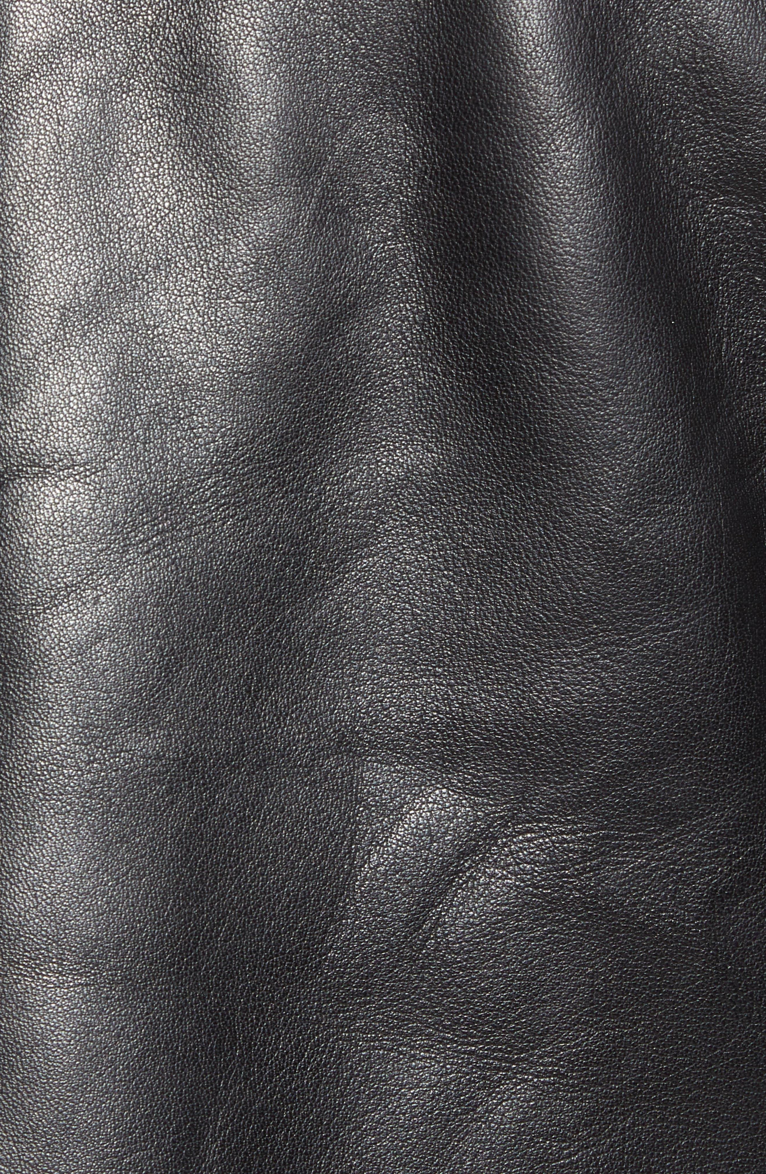 Arinos Leather Bomber Jacket,                             Alternate thumbnail 6, color,                             BLACK