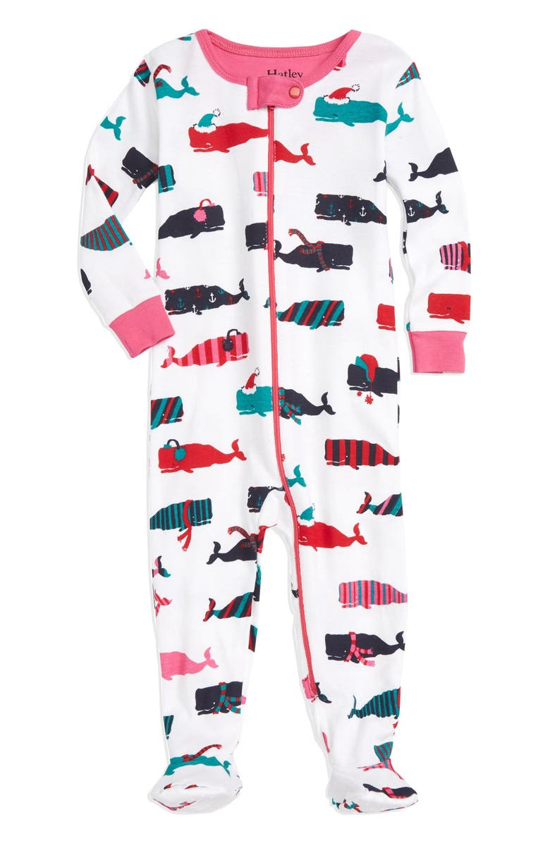 ee55022f8 Hatley  Scarf Whales  Fitted One-Piece Footie Pajamas (Baby Girls ...