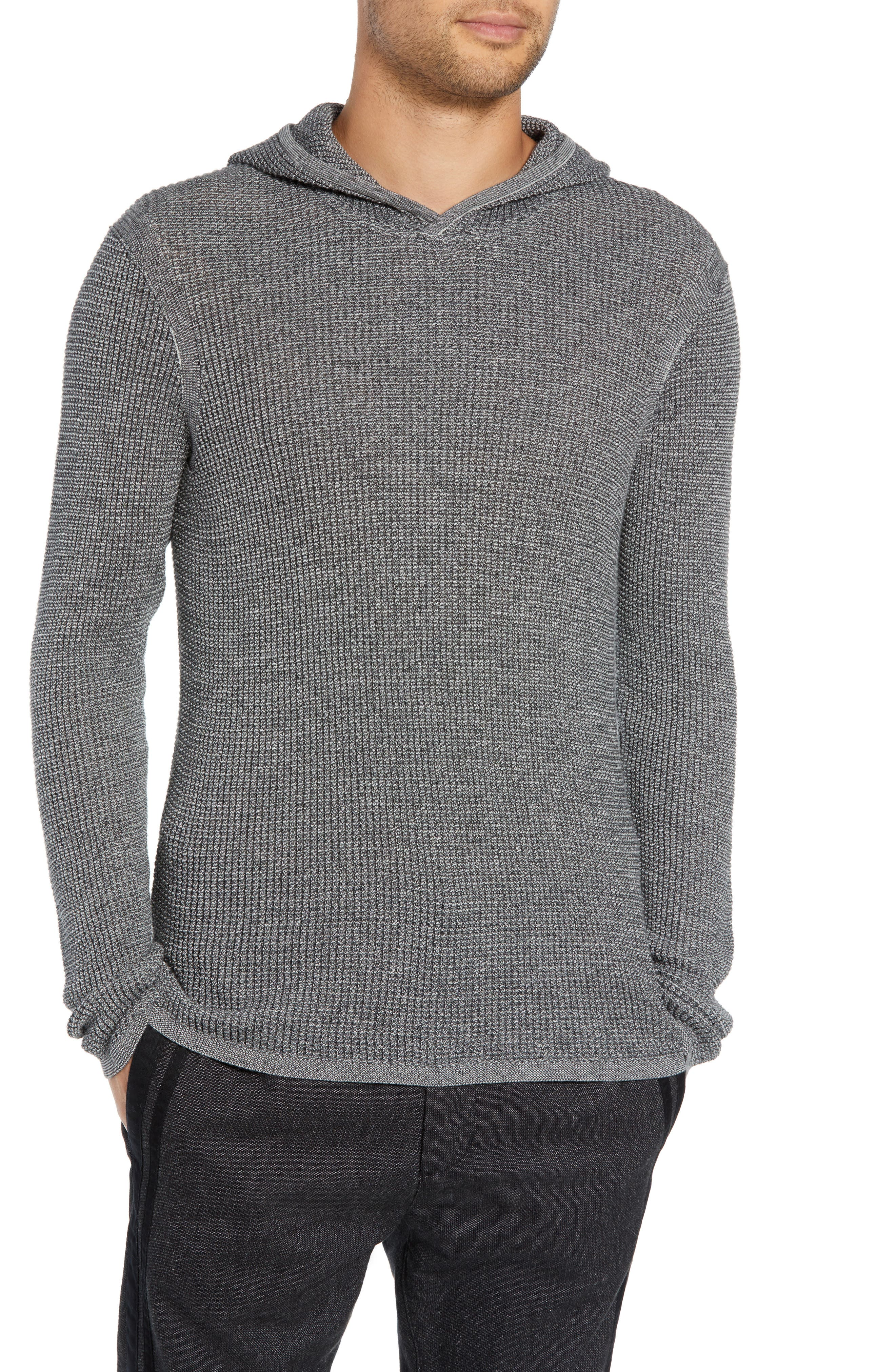 Thermal Hooded Sweater,                         Main,                         color, CHARCOAL HEATHER