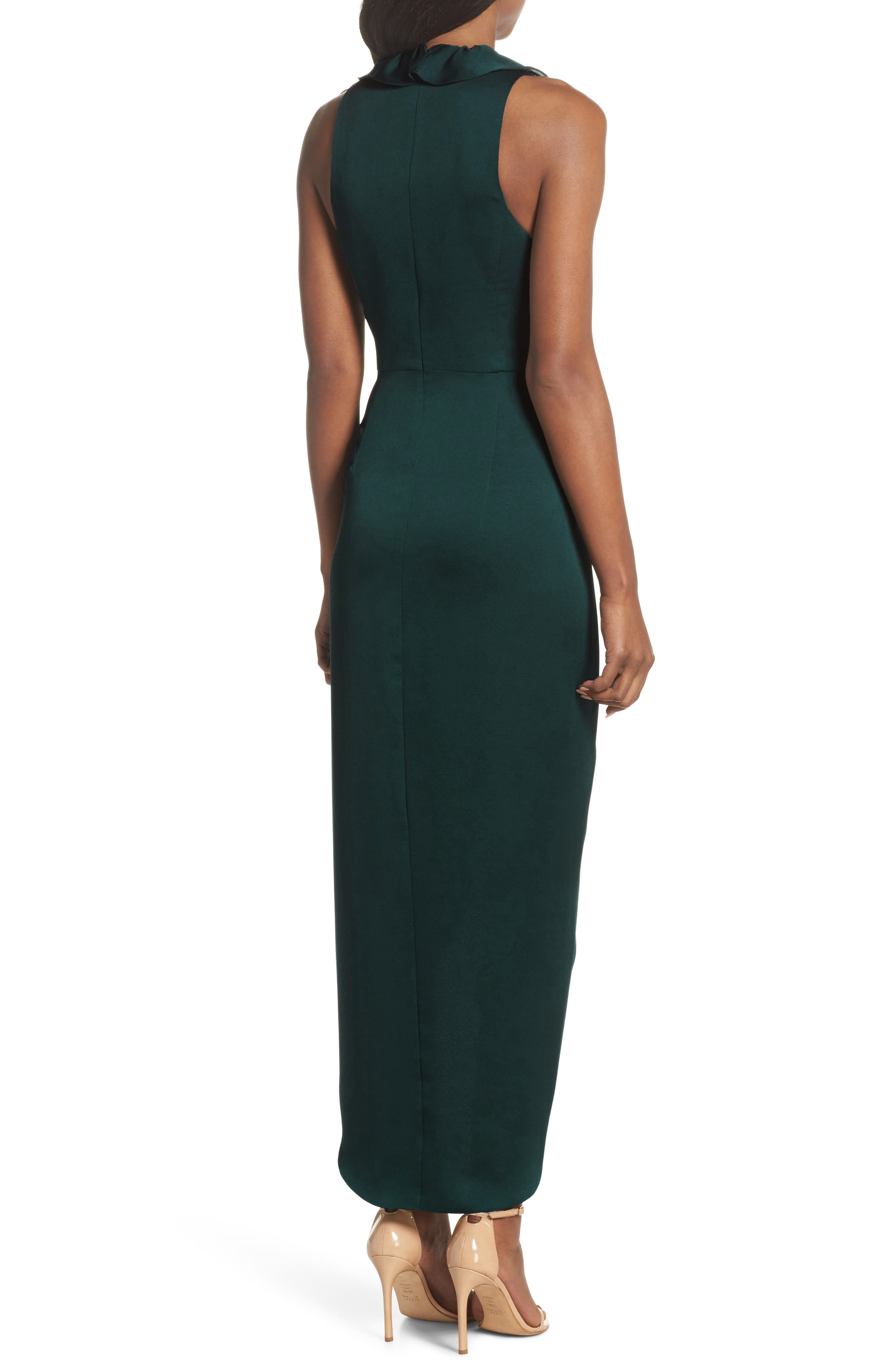 Luxe Plunging Frill Maxi Dress,                             Alternate thumbnail 2, color,                             300