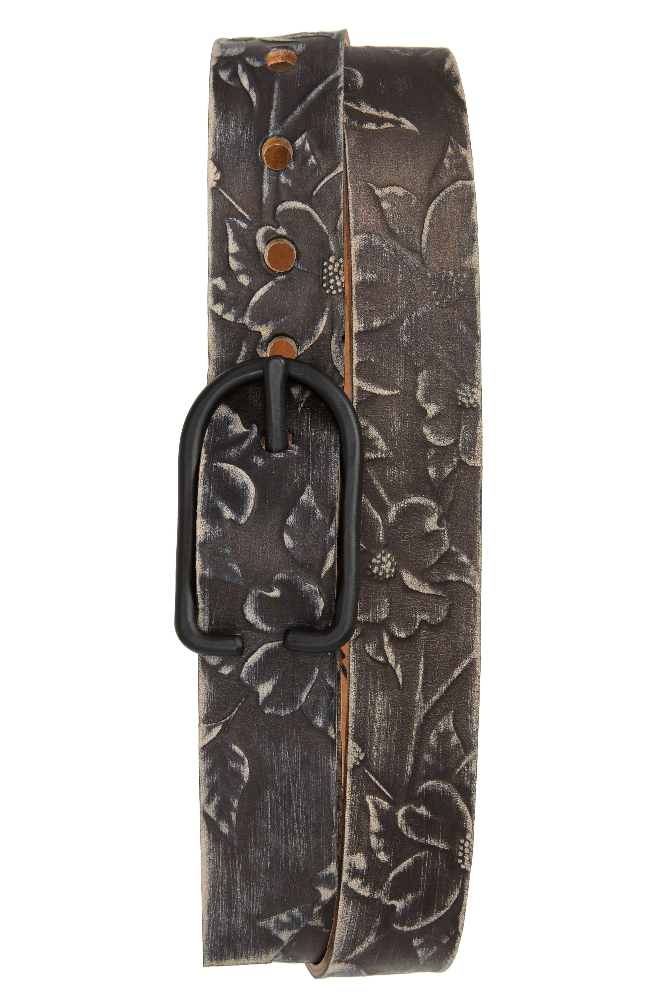 Cause & Effect Dogwood Tooled Leather Belt,                             Main thumbnail 1, color,                             BLACK