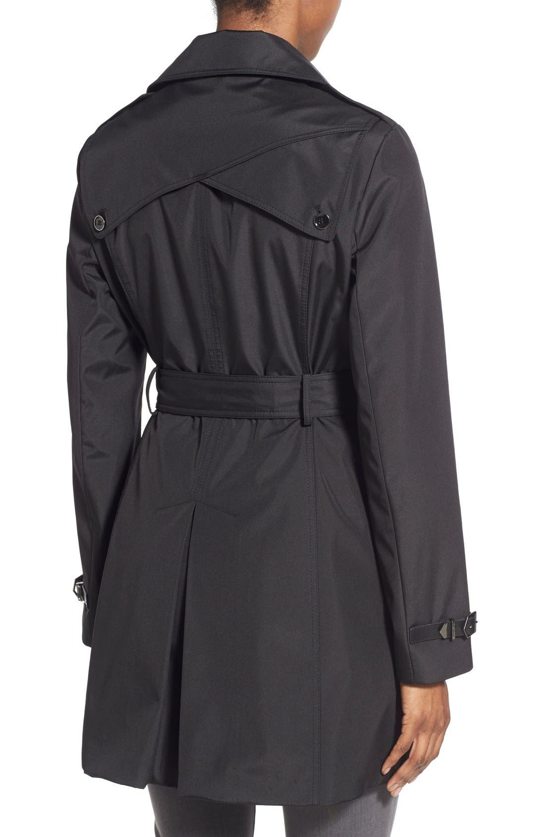 Faux Leather Trim Trench Coat,                             Alternate thumbnail 2, color,                             001