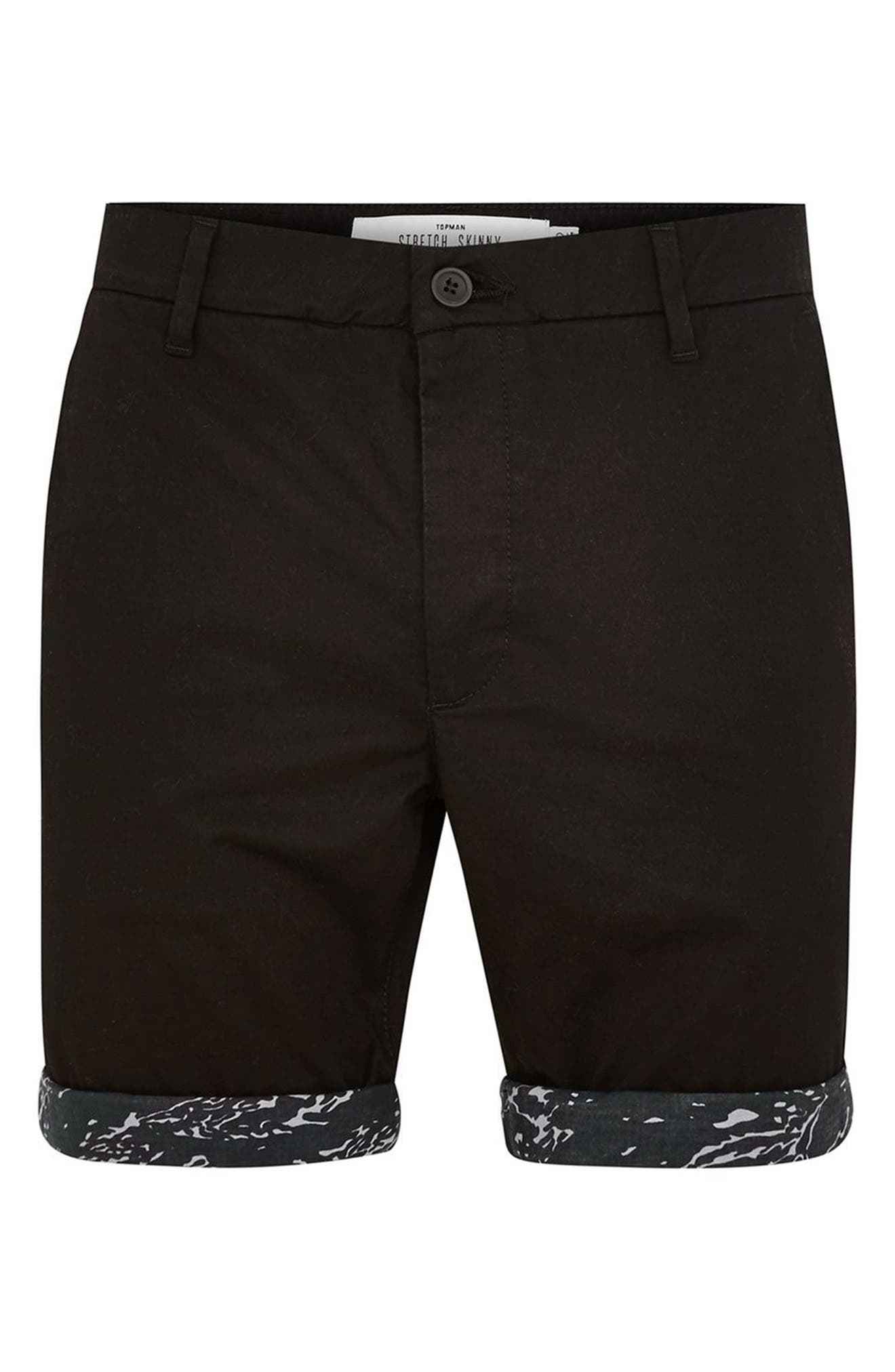 Stretch Skinny Fit Chino Shorts,                             Alternate thumbnail 3, color,                             BLACK MULTI
