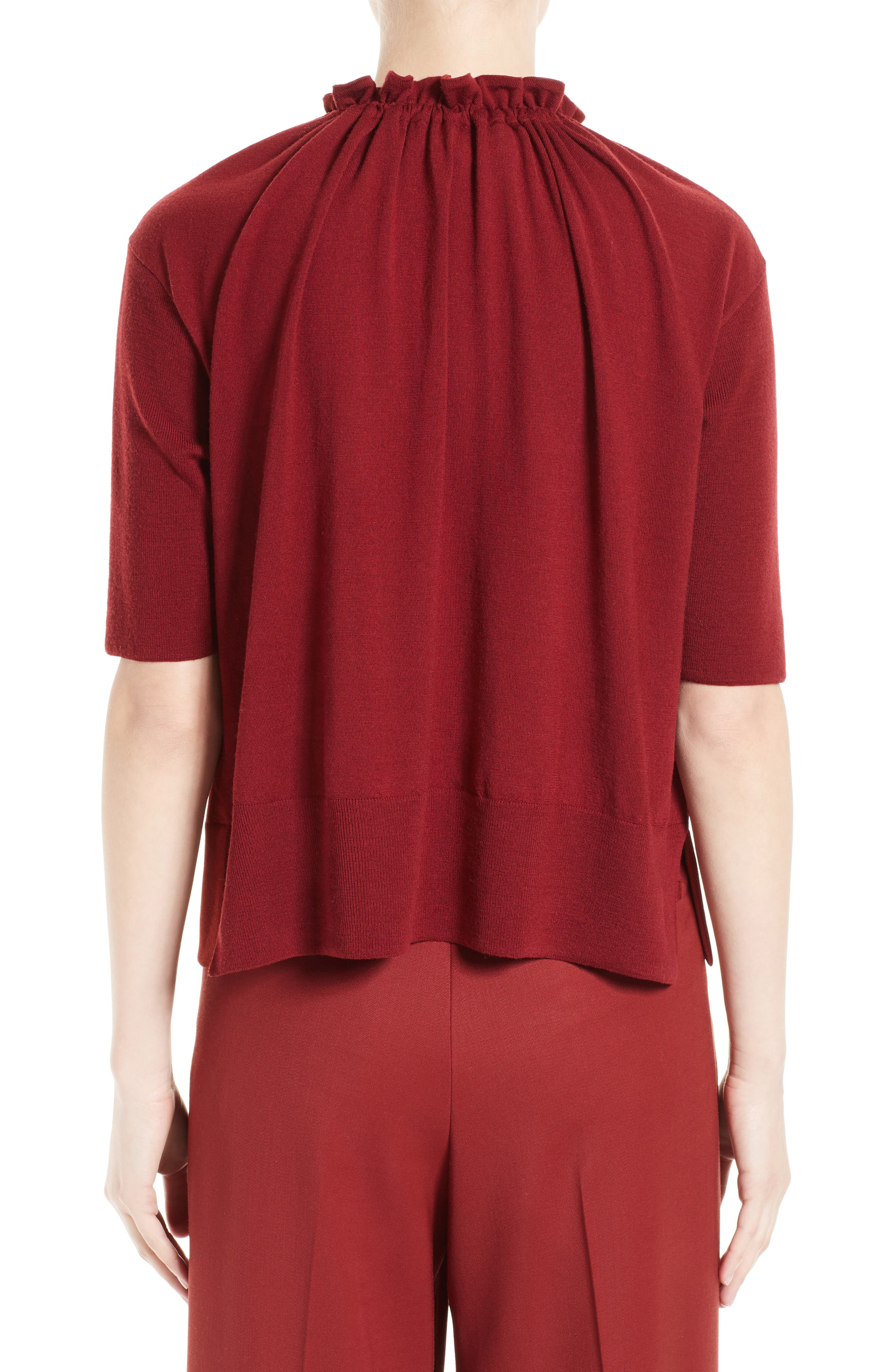 Crepe Gathered Neck Top,                             Alternate thumbnail 2, color,