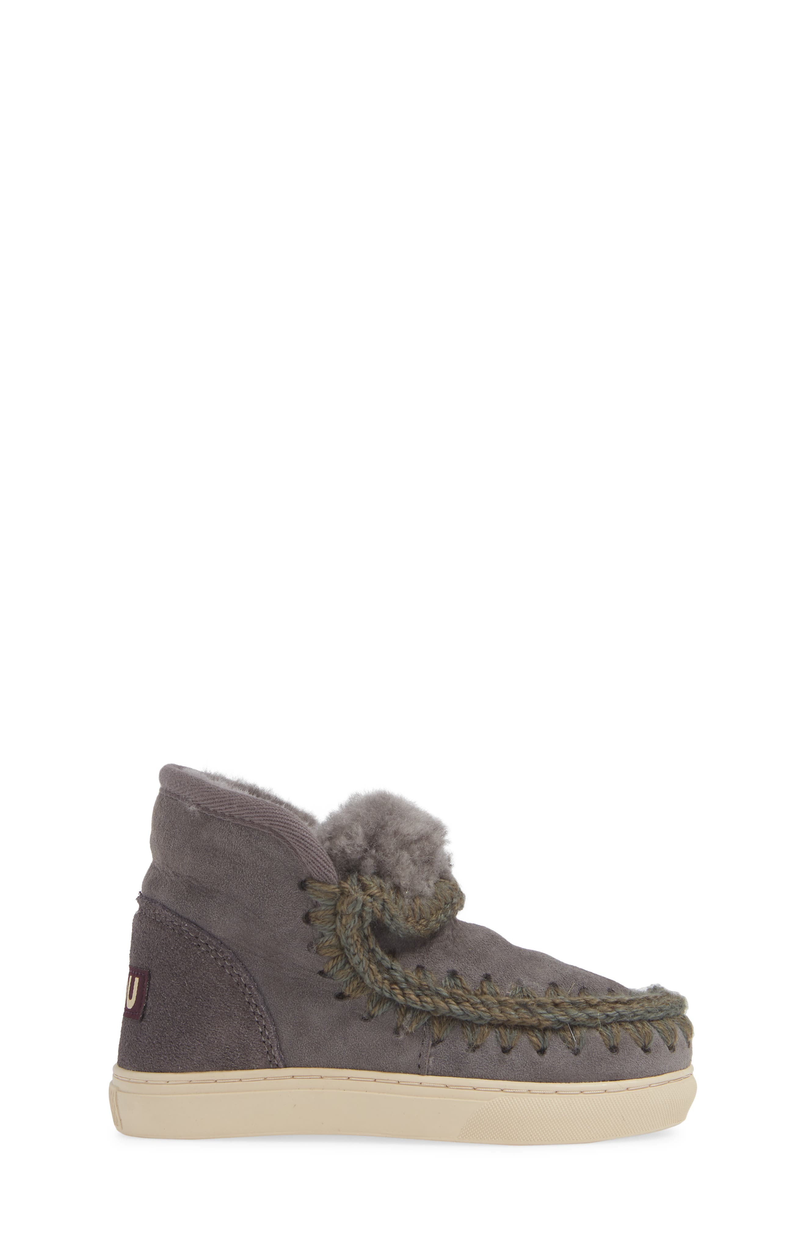 MOU,                             Embellished Genuine Shearling Sneaker Boot,                             Alternate thumbnail 3, color,                             IRON