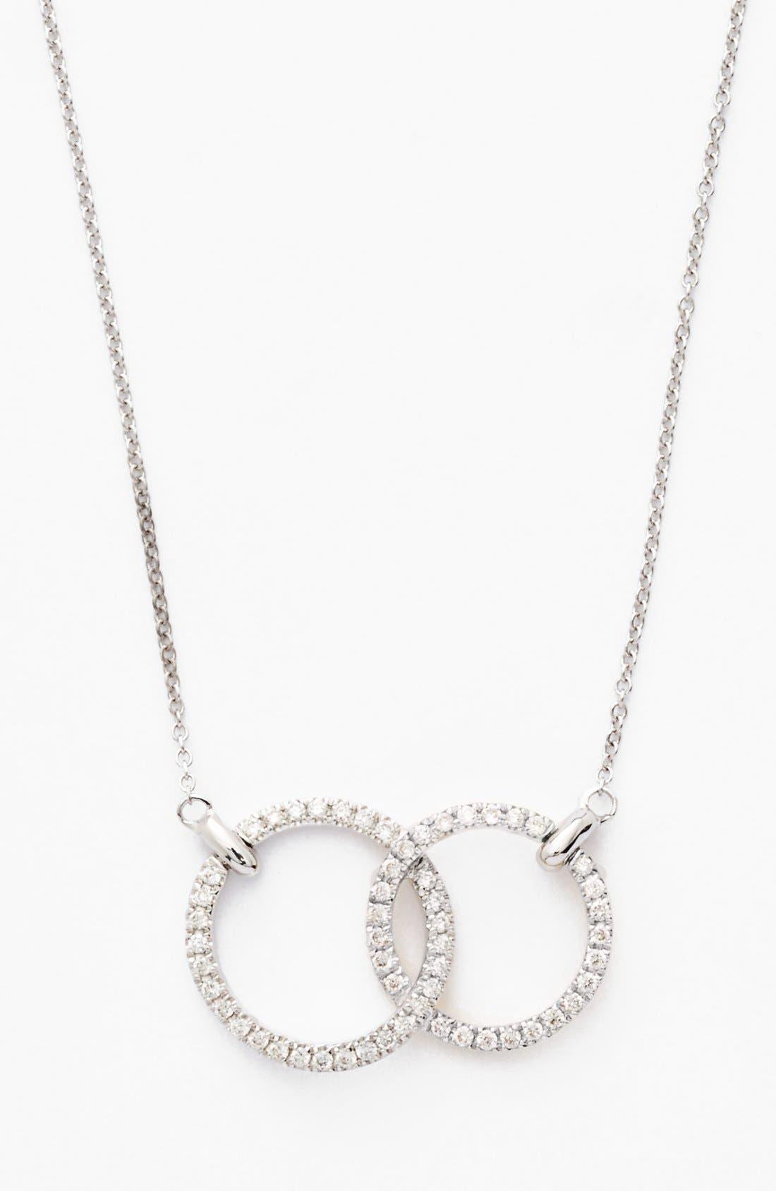 Double Diamond Circle Pendant Necklace,                             Main thumbnail 1, color,                             WHITE GOLD