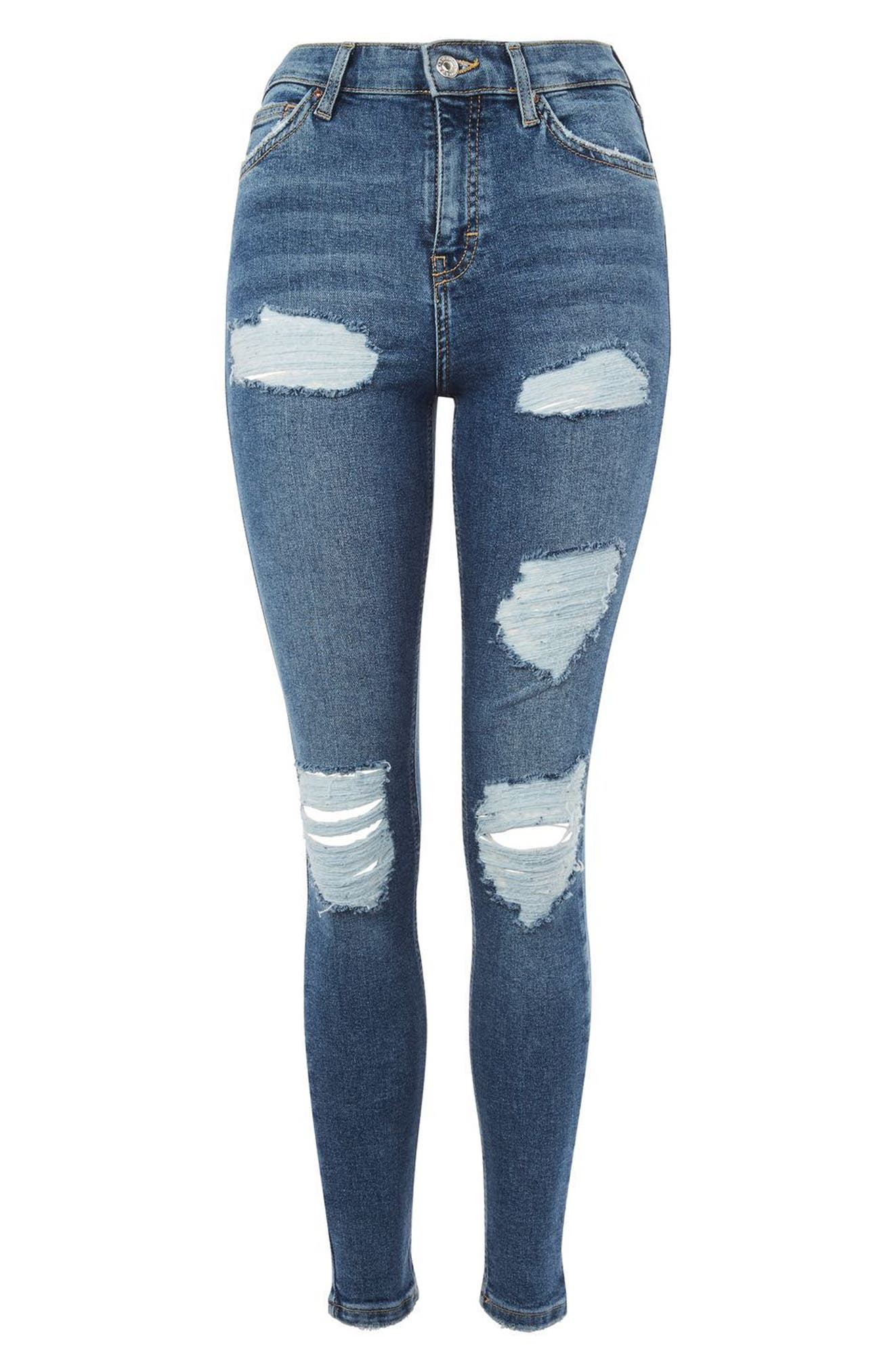 Jamie Distressed Ankle Skinny Jeans,                             Alternate thumbnail 3, color,                             400