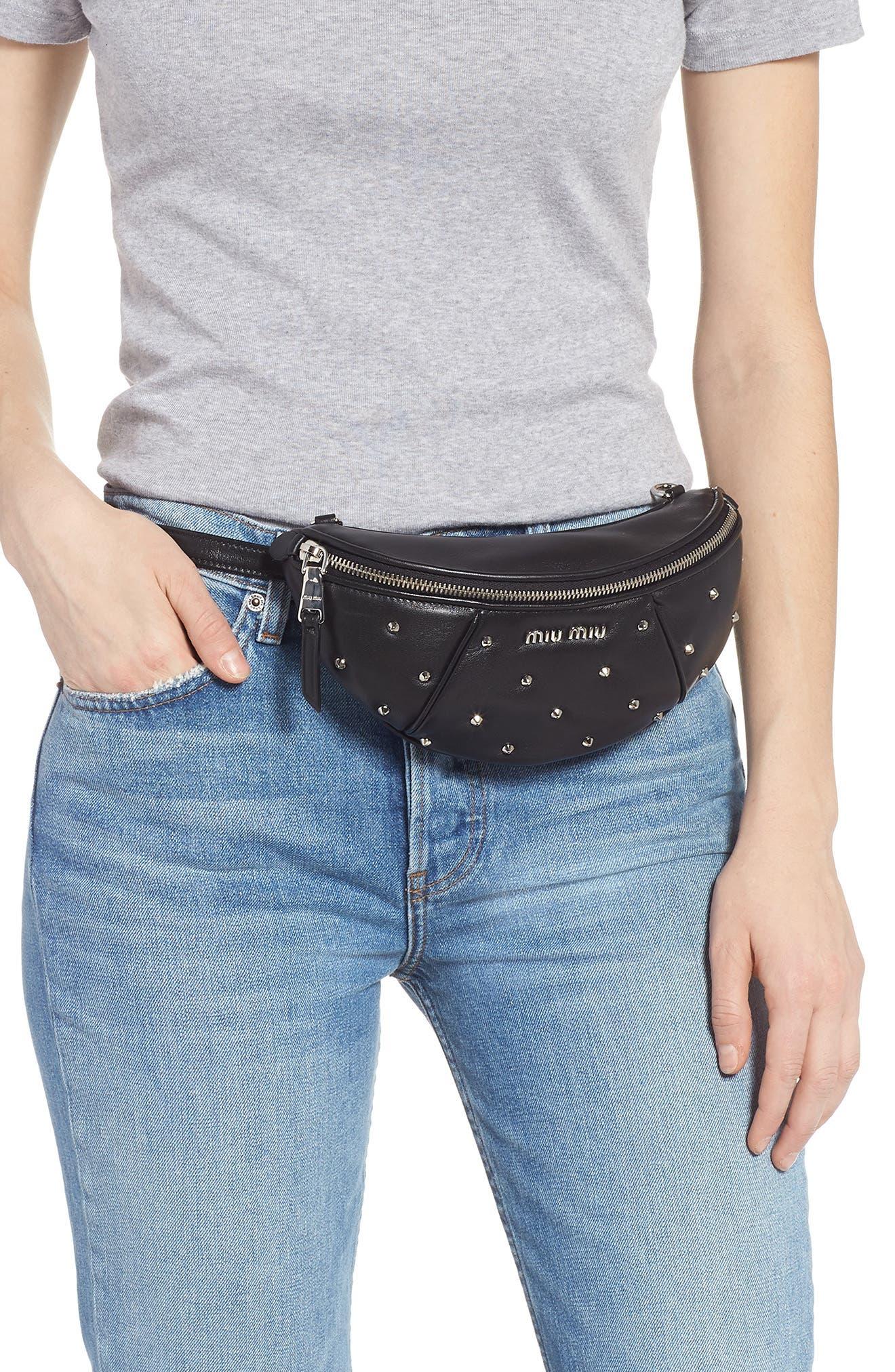 Studded Lambskin Leather Belt Bag,                             Alternate thumbnail 2, color,                             NERO