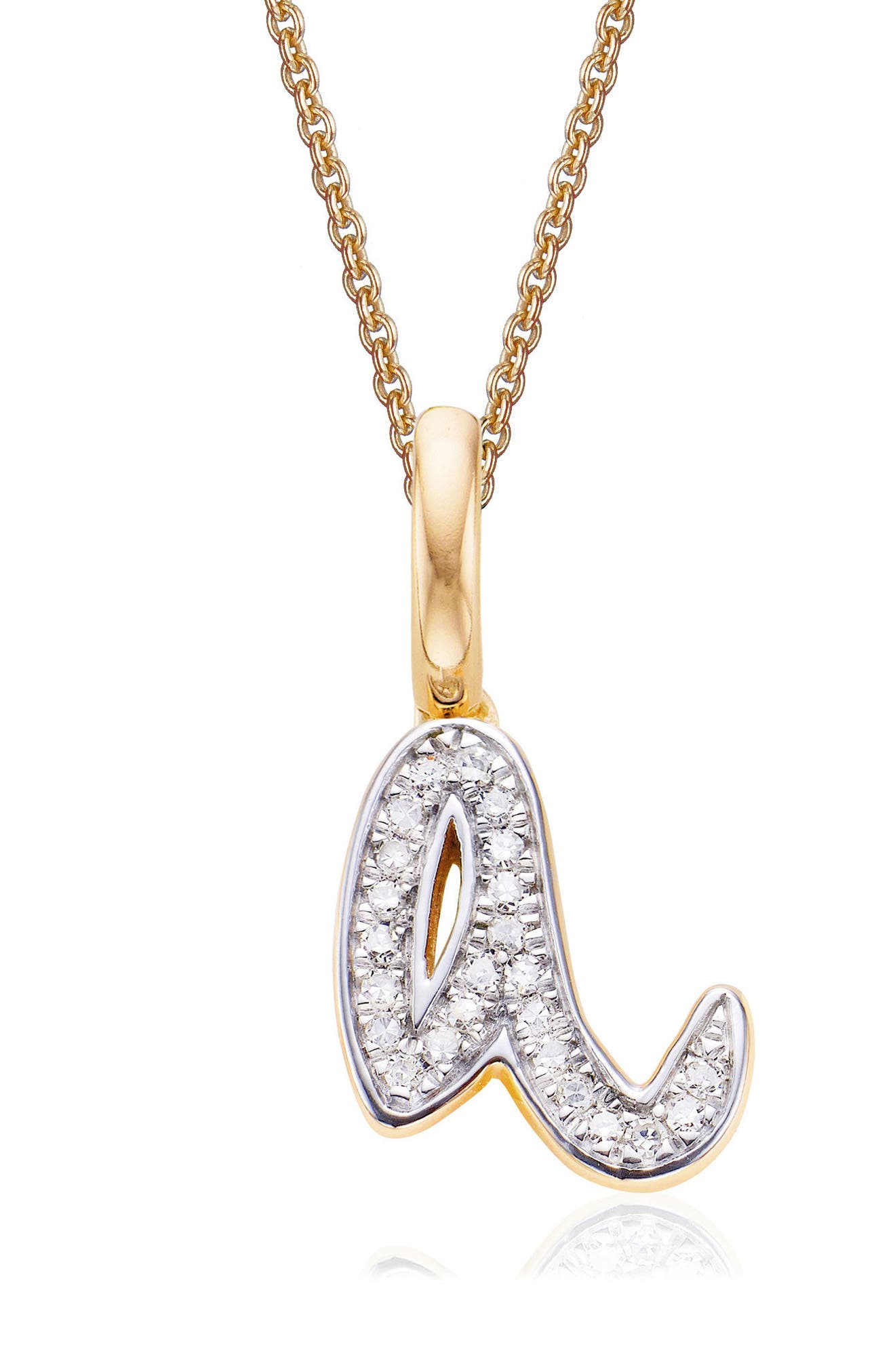 MONICA VINADER,                             Alphabet Diamond Pavé Pendant Charm,                             Main thumbnail 1, color,                             Gold/ Diamond- A