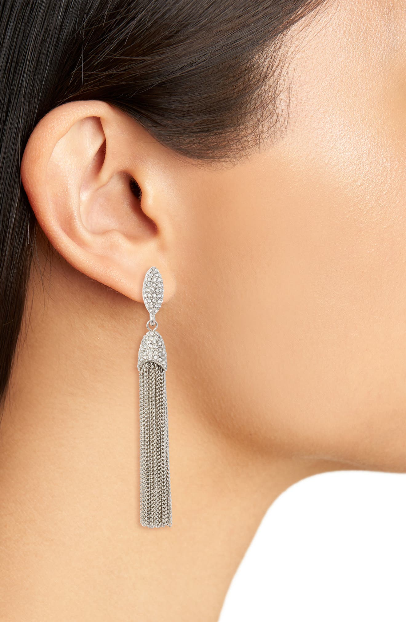 Chain Tassel Drop Earrings,                             Alternate thumbnail 3, color,
