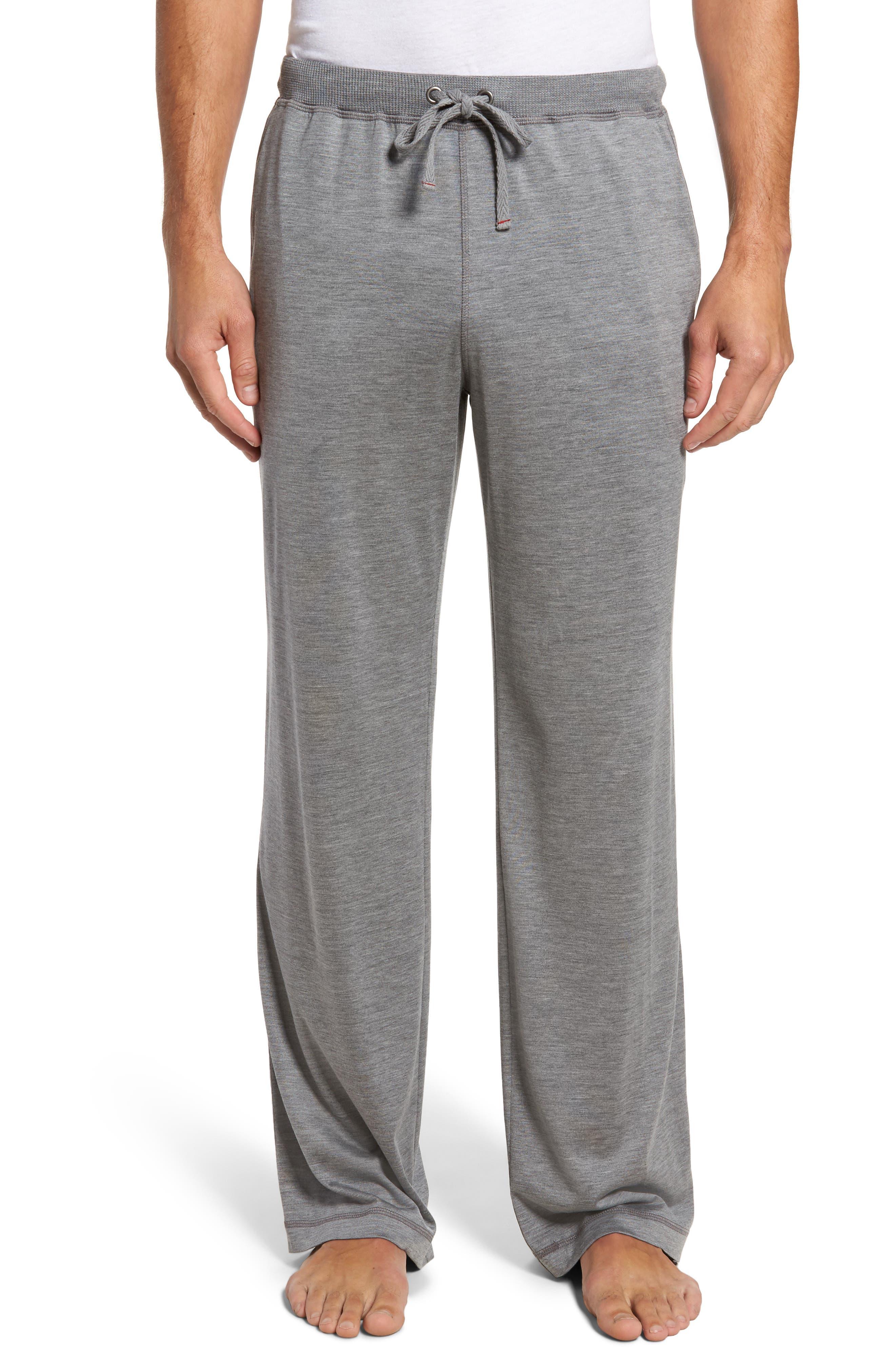 Silk & Cotton Lounge Pants,                         Main,                         color, CHARCOAL HEATHER