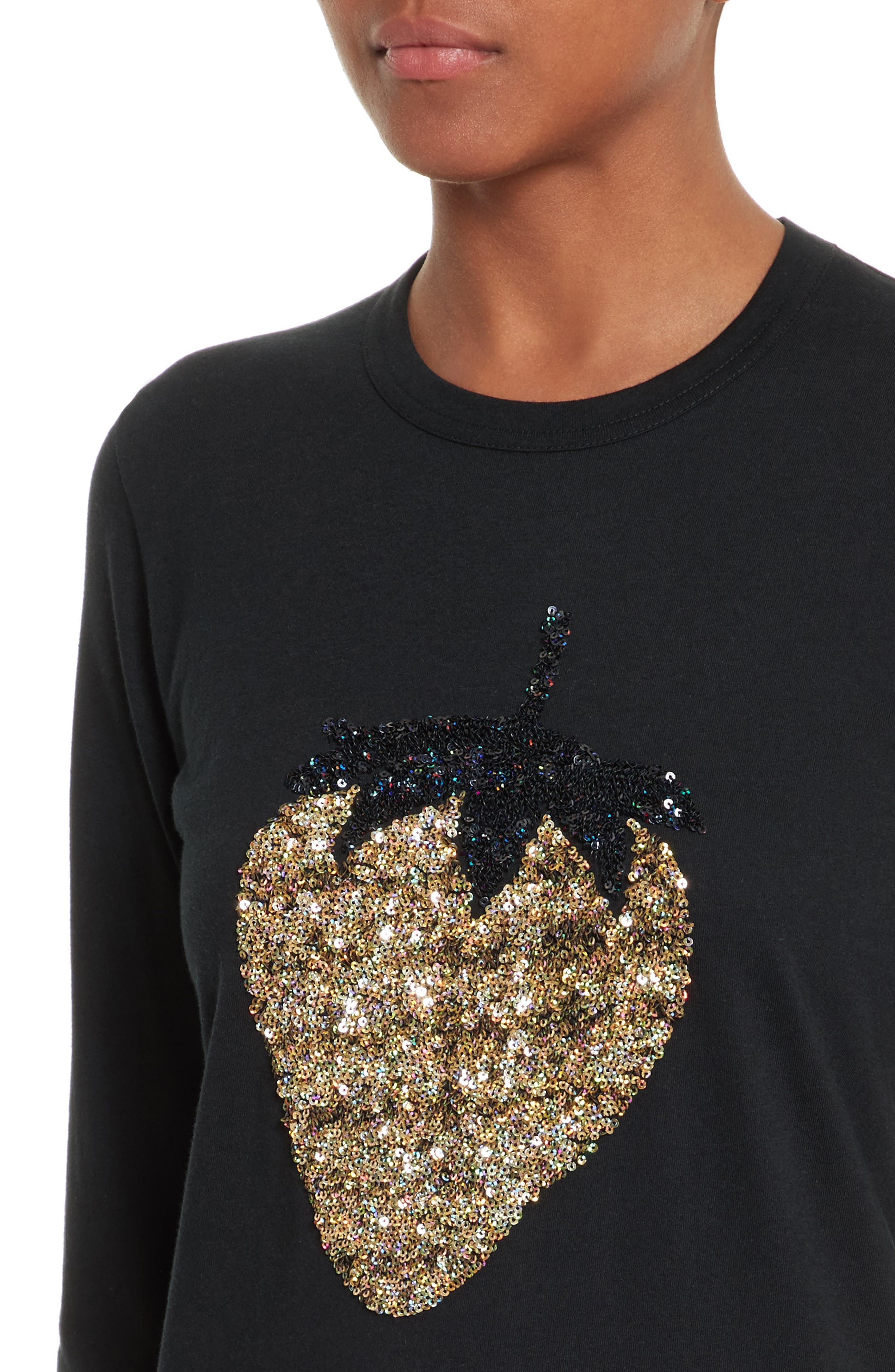 Sequin Strawberry Tee,                             Alternate thumbnail 4, color,