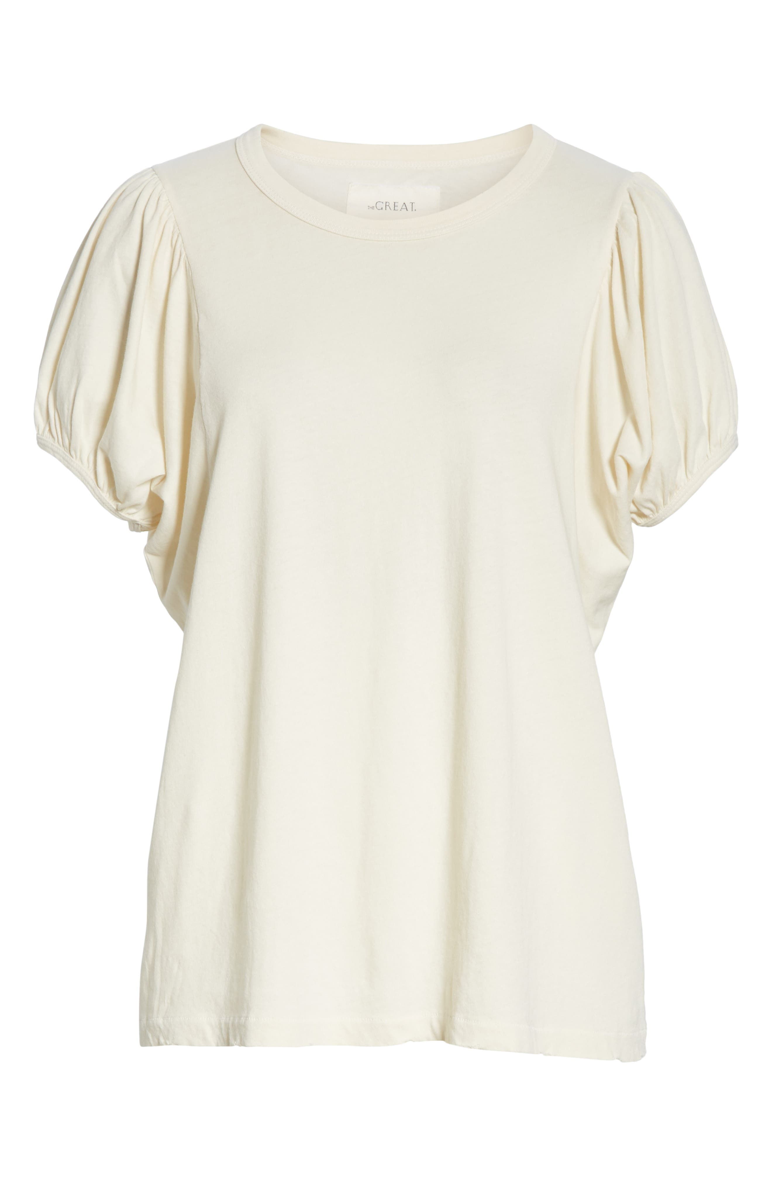 The Puff Sleeve Tee,                             Alternate thumbnail 6, color,                             WASHED WHITE