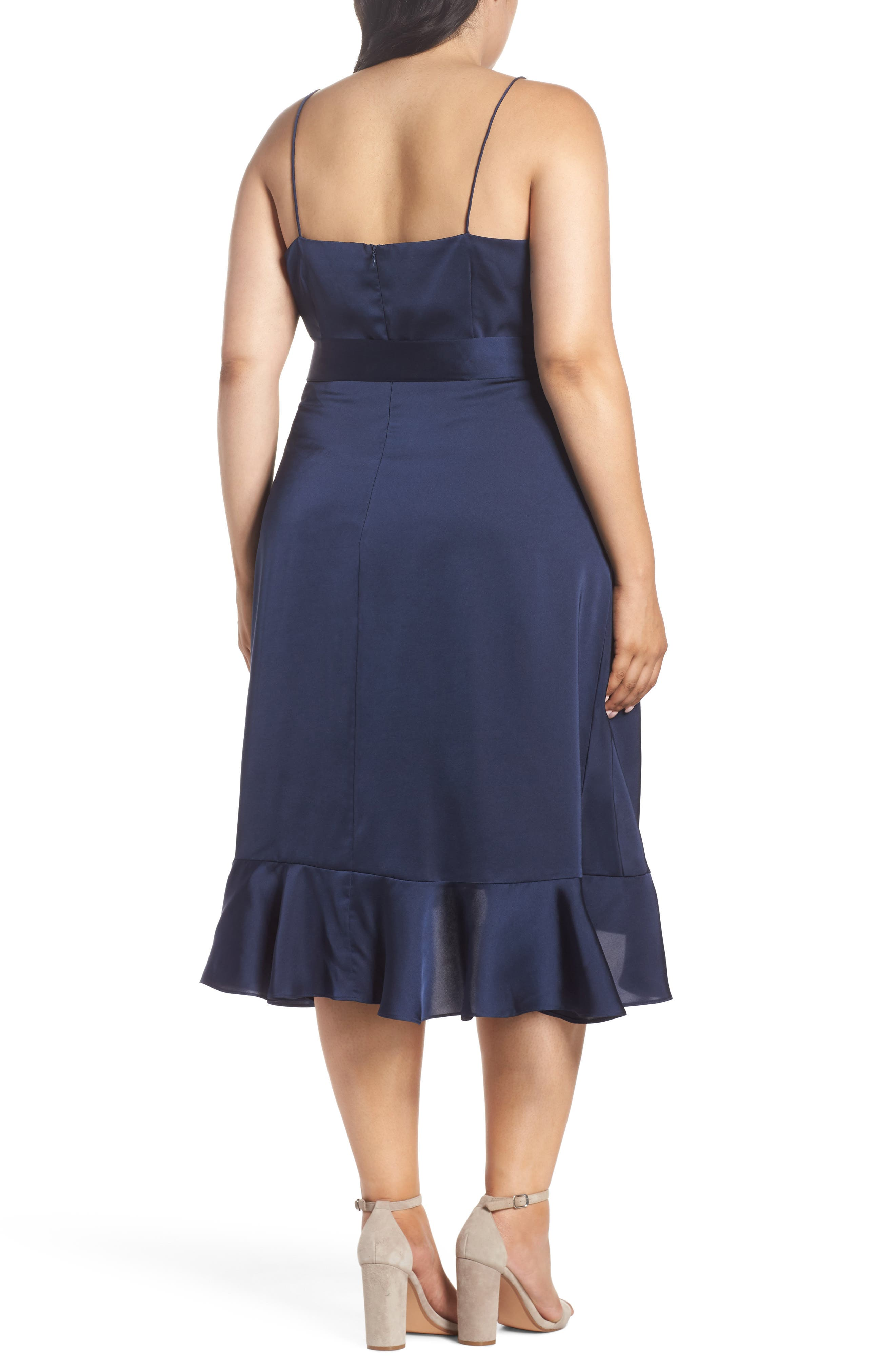 Marilyn Satin Faux Wrap Dress,                             Alternate thumbnail 2, color,                             400