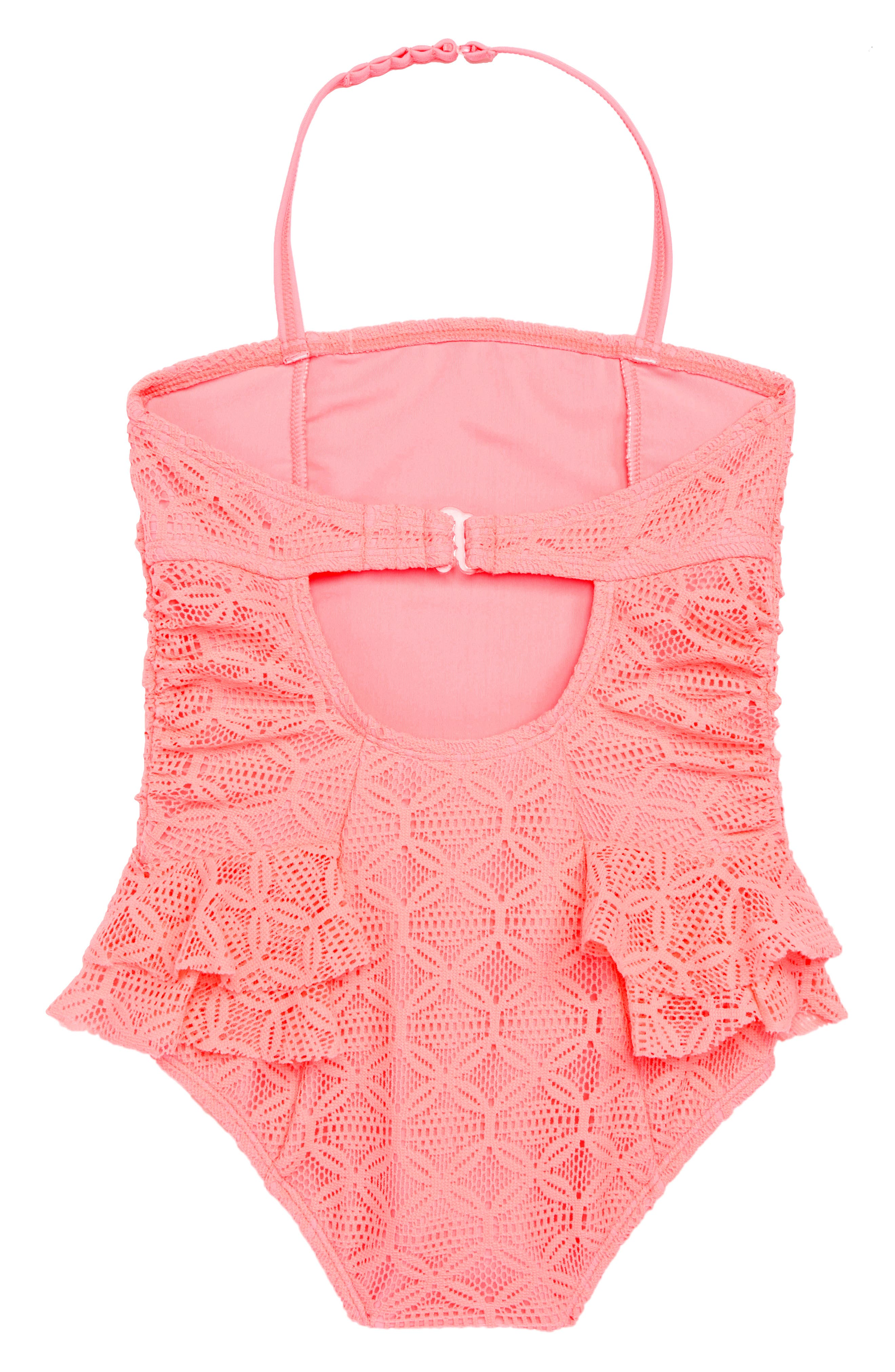 Kitty Lace One-Piece Swimsuit,                             Alternate thumbnail 2, color,                             CORAL