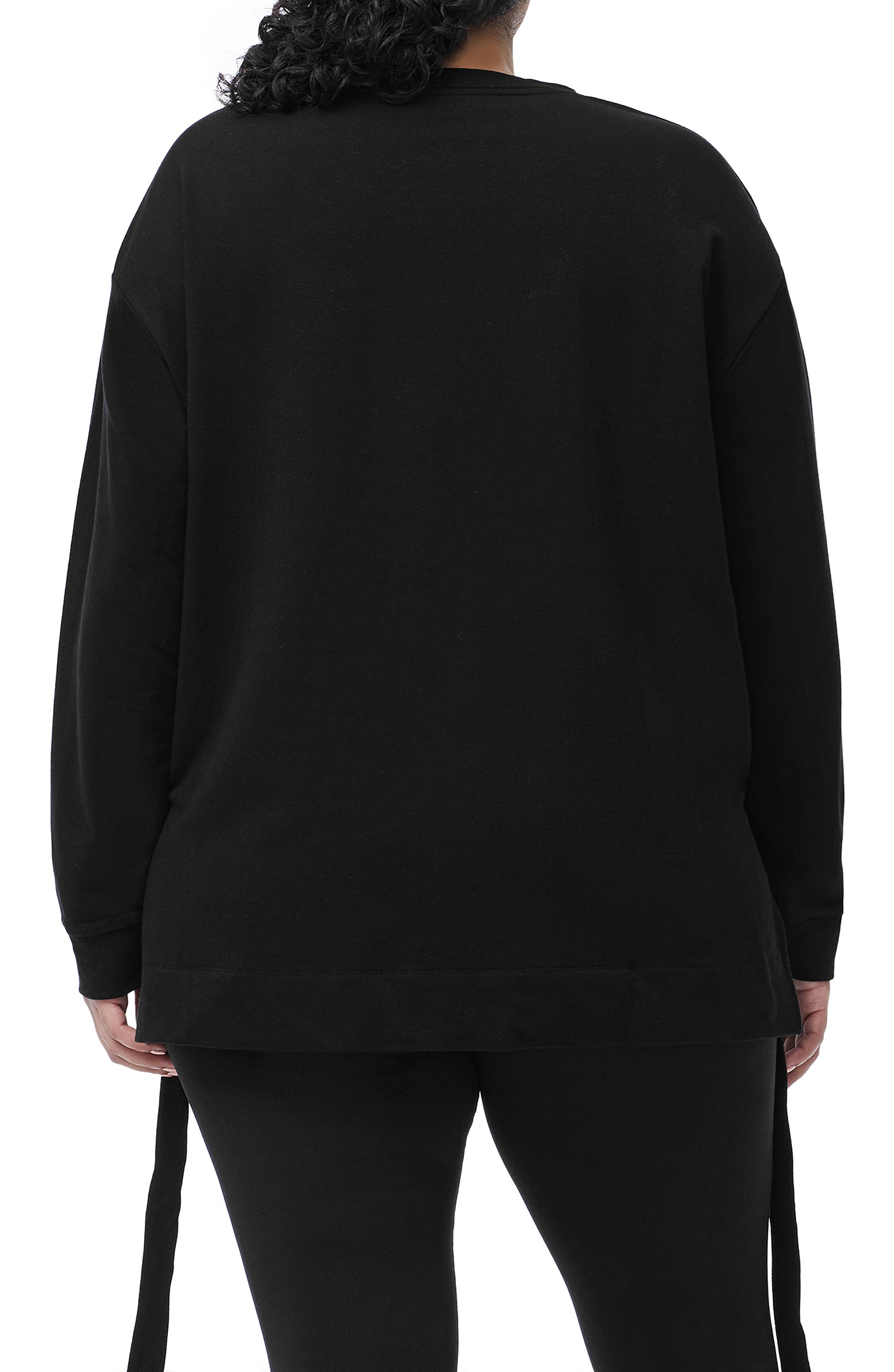 Ruched Hem High/Low Sweatshirt,                             Alternate thumbnail 6, color,                             001