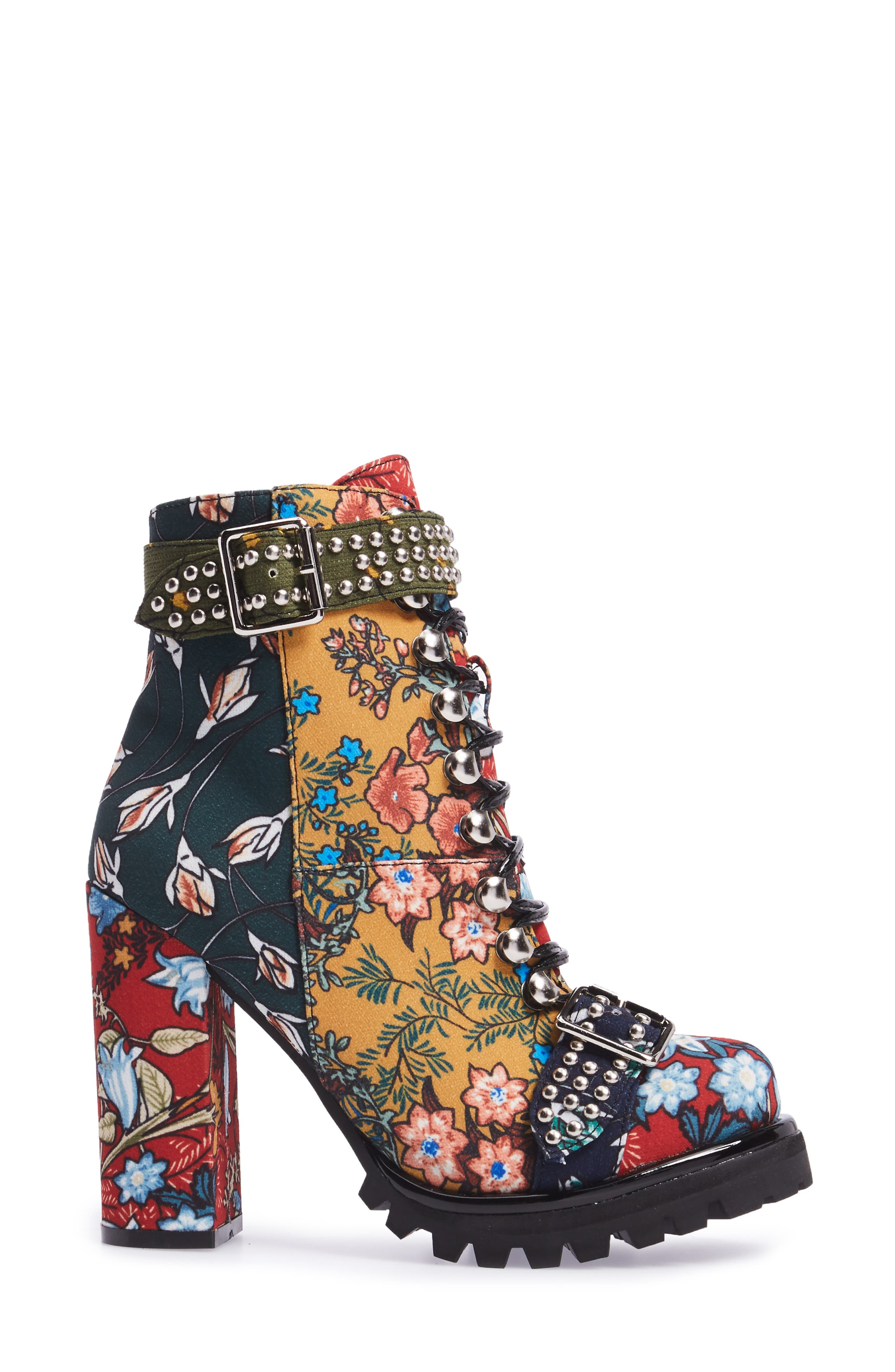 Lilith Block Heel Bootie,                             Alternate thumbnail 3, color,                             NEW FLORAL COMBO
