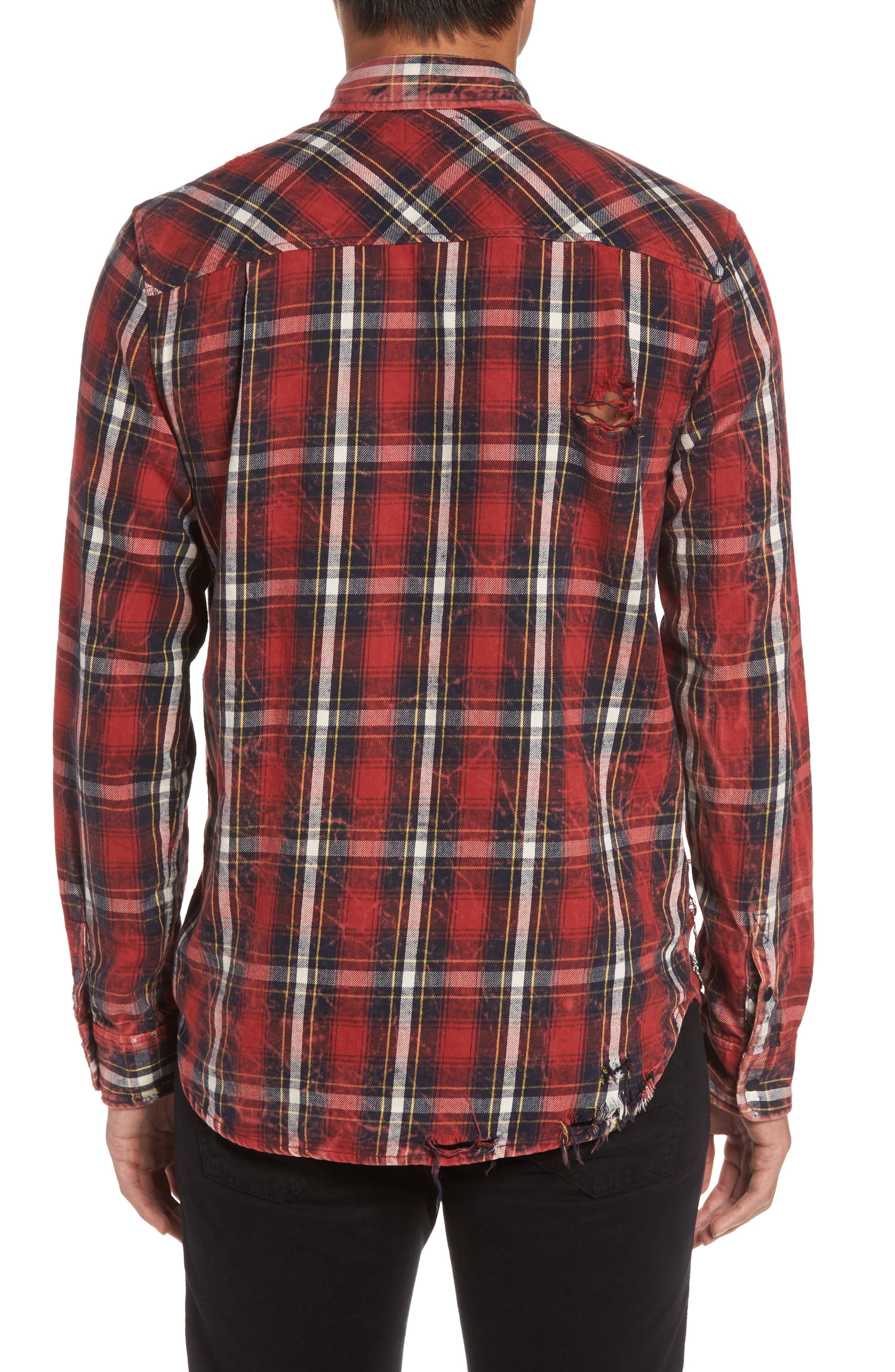 Slim Fit Plaid Sport Shirt,                             Alternate thumbnail 3, color,