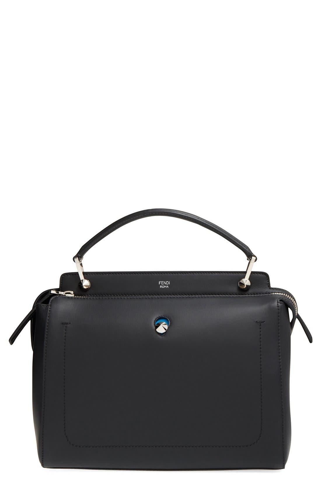 'DOTCOM' Leather Satchel,                         Main,                         color, BLACK/ ROYAL BLUE