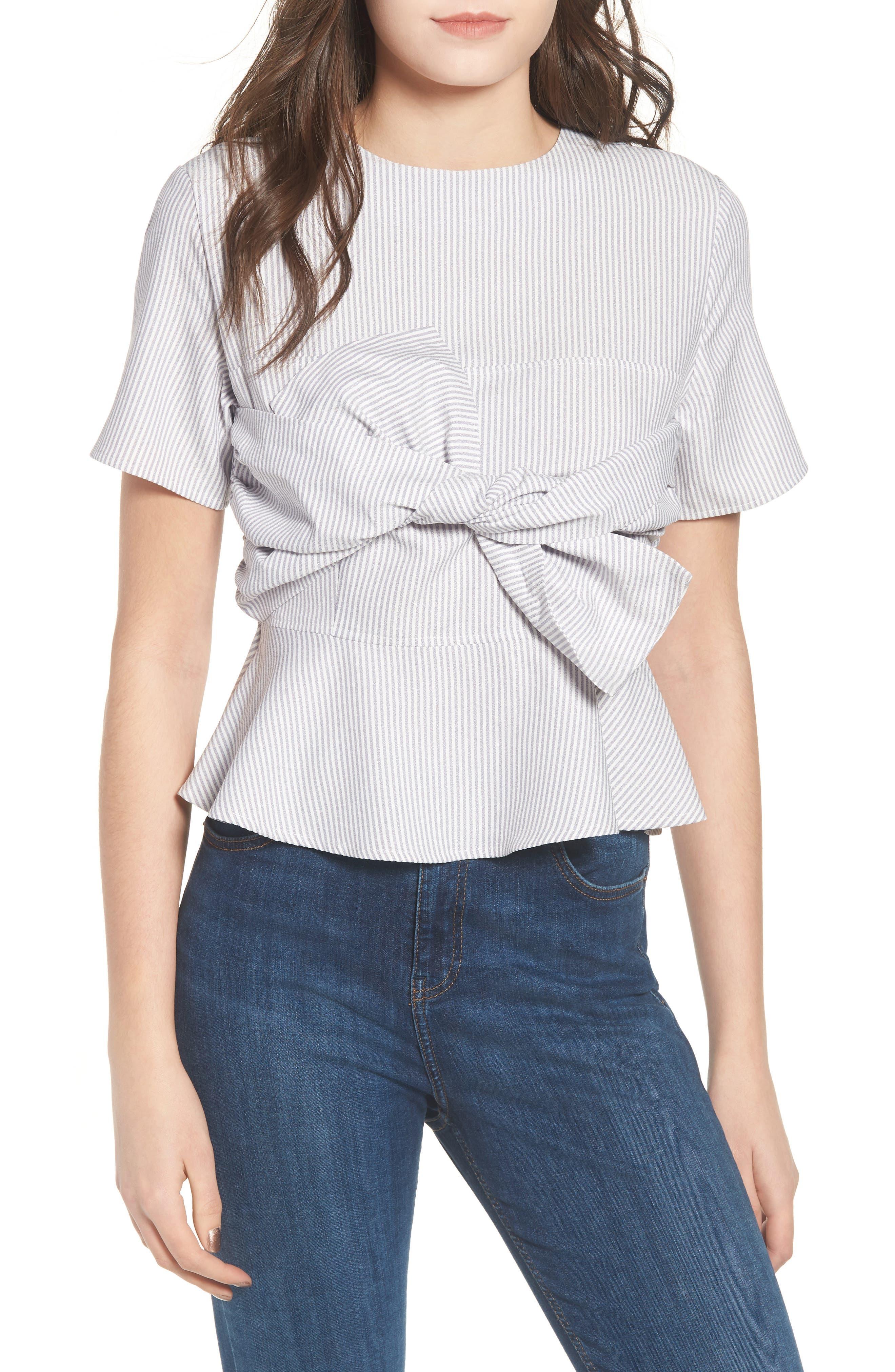 Tie Front Striped Blouse,                             Main thumbnail 1, color,