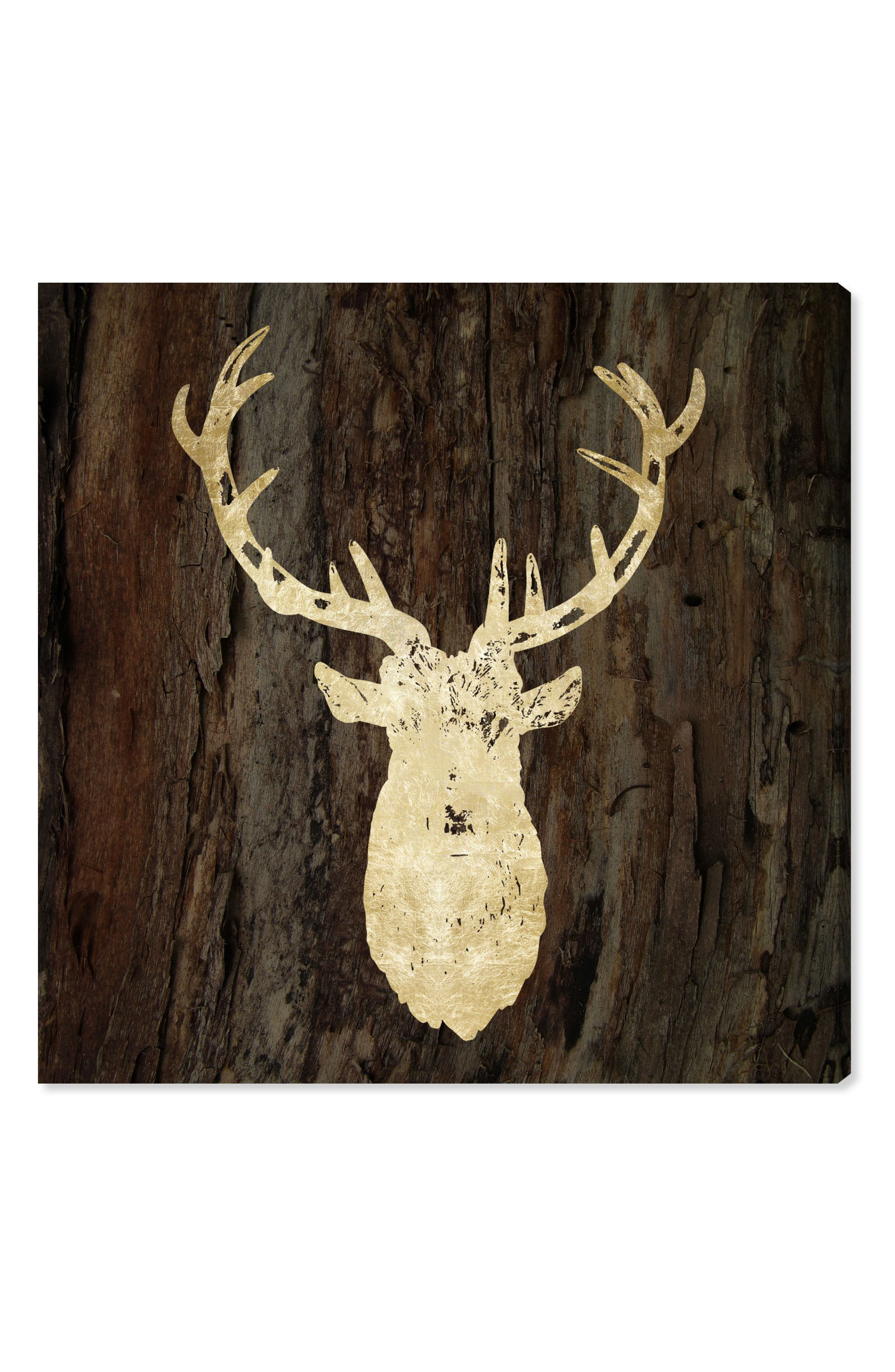 Gold Stag Canvas Wall Art,                         Main,                         color, BROWN