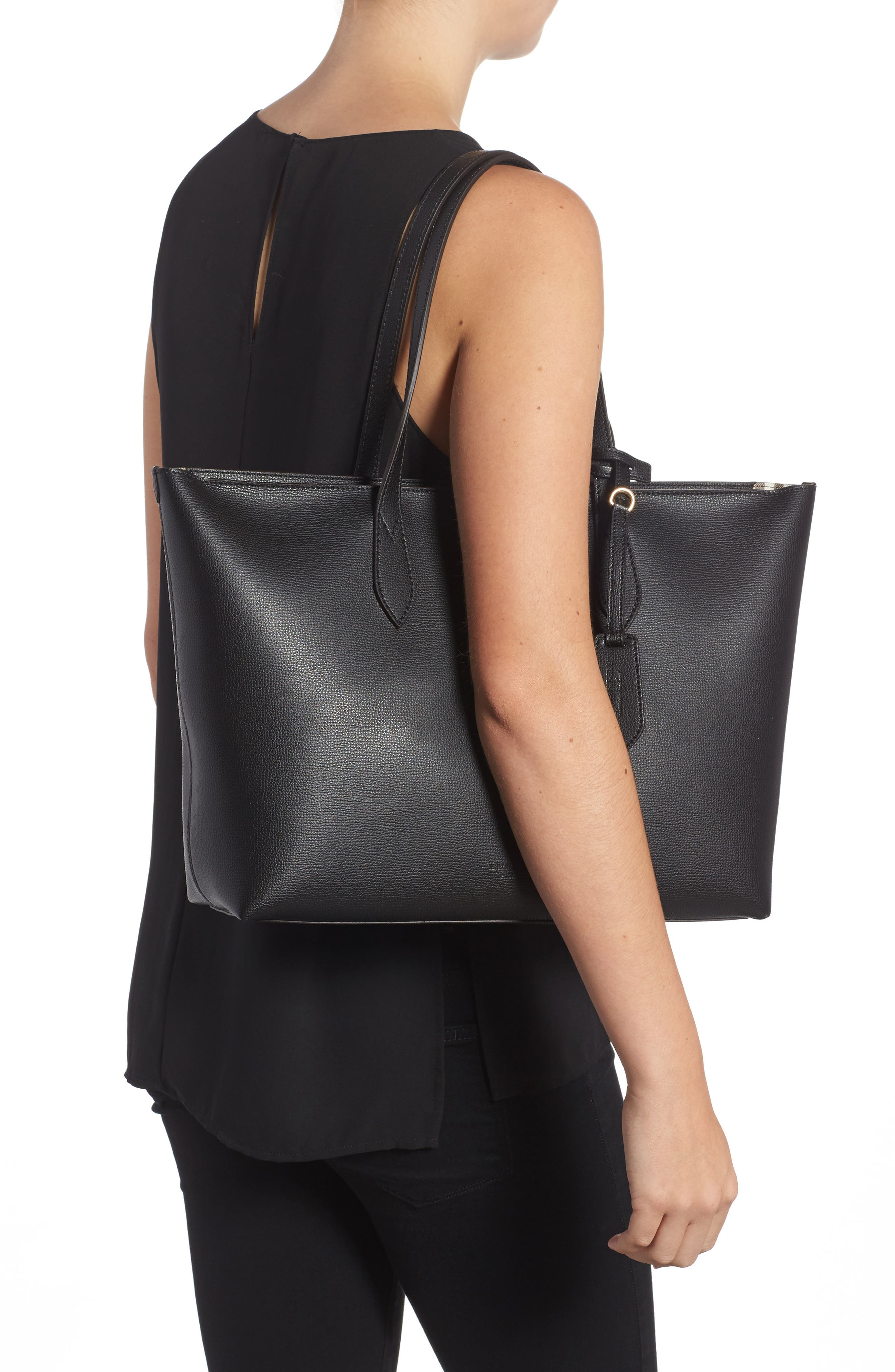 Calfskin Leather Tote,                             Alternate thumbnail 2, color,                             001