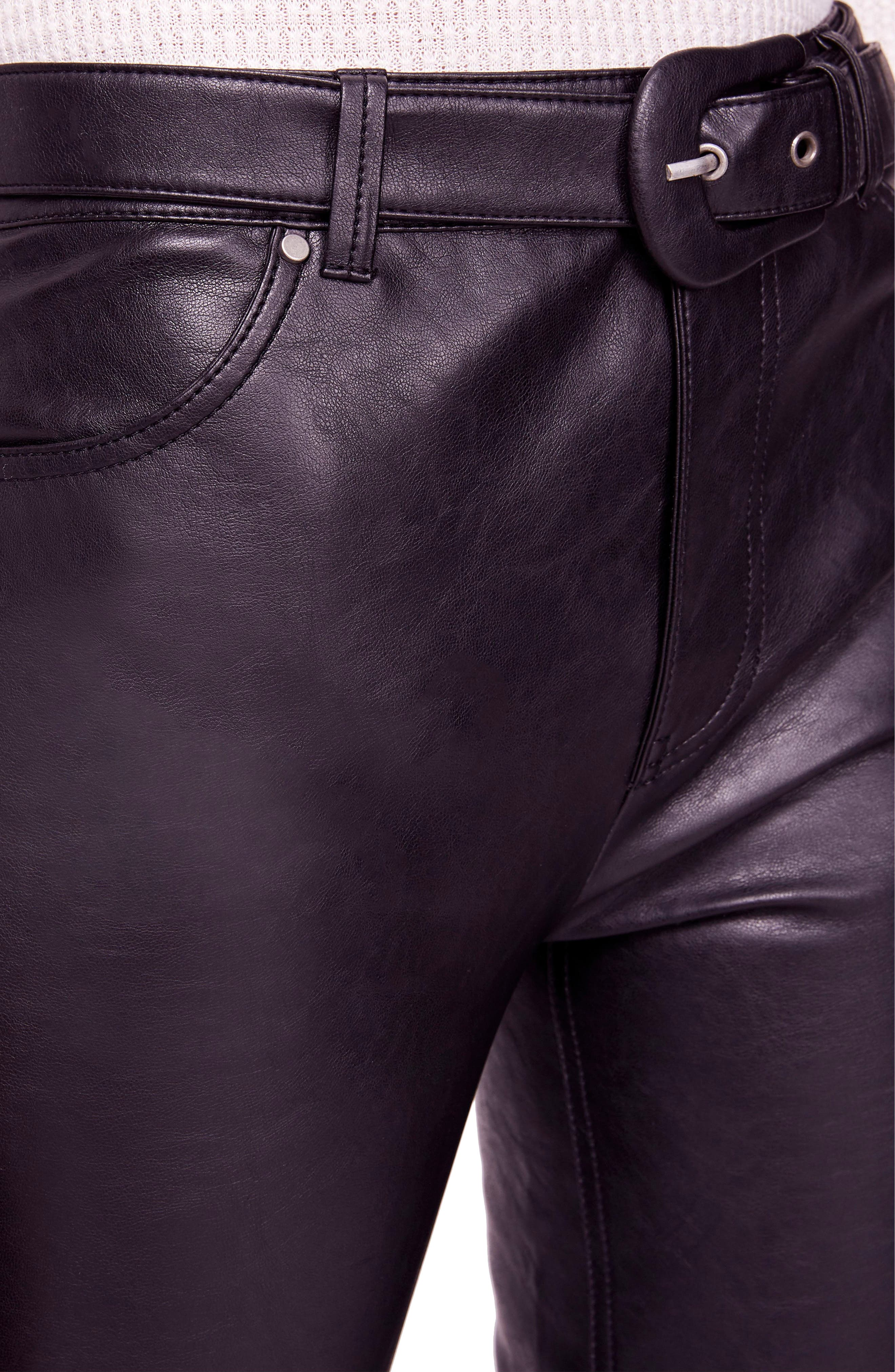 Belted Faux Leather Skinny Pants,                             Alternate thumbnail 4, color,                             001