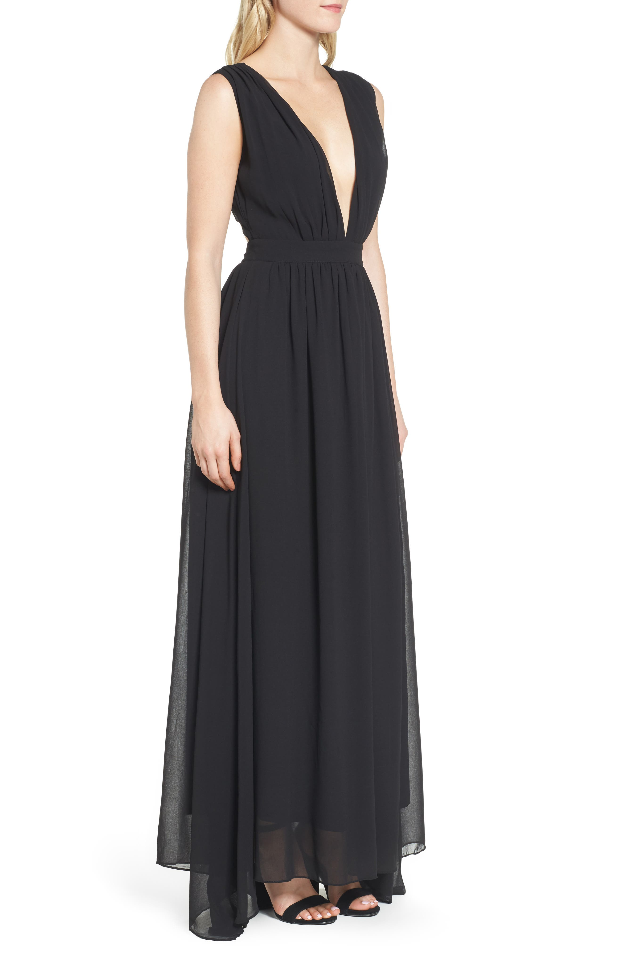 Bishop + Young Plunging Maxi Dress,                             Alternate thumbnail 3, color,                             001