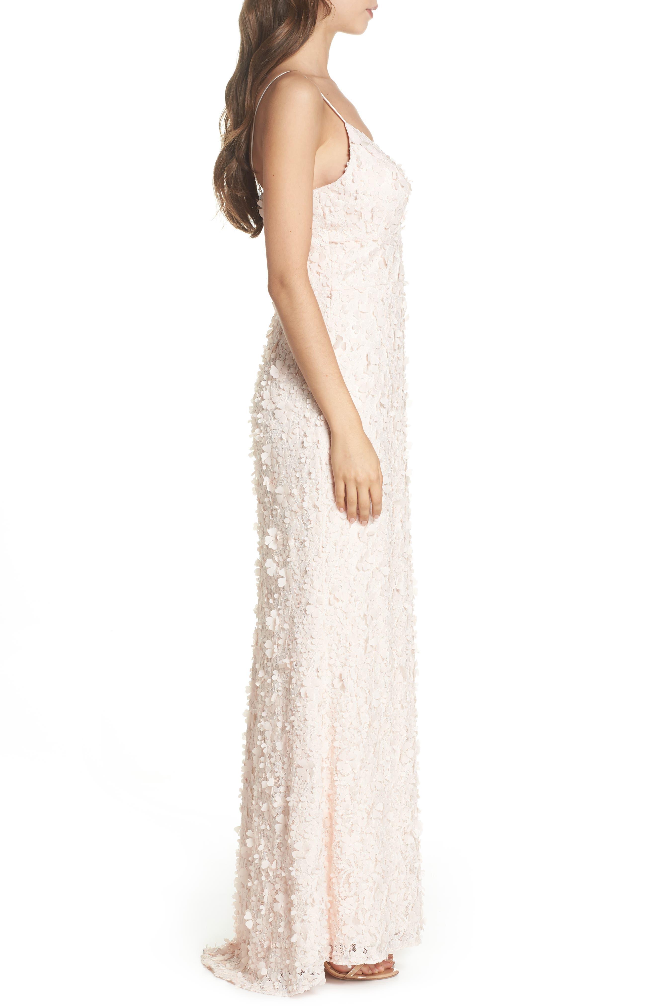 Floral Appliqué Lace Gown,                             Alternate thumbnail 3, color,                             BLUSH