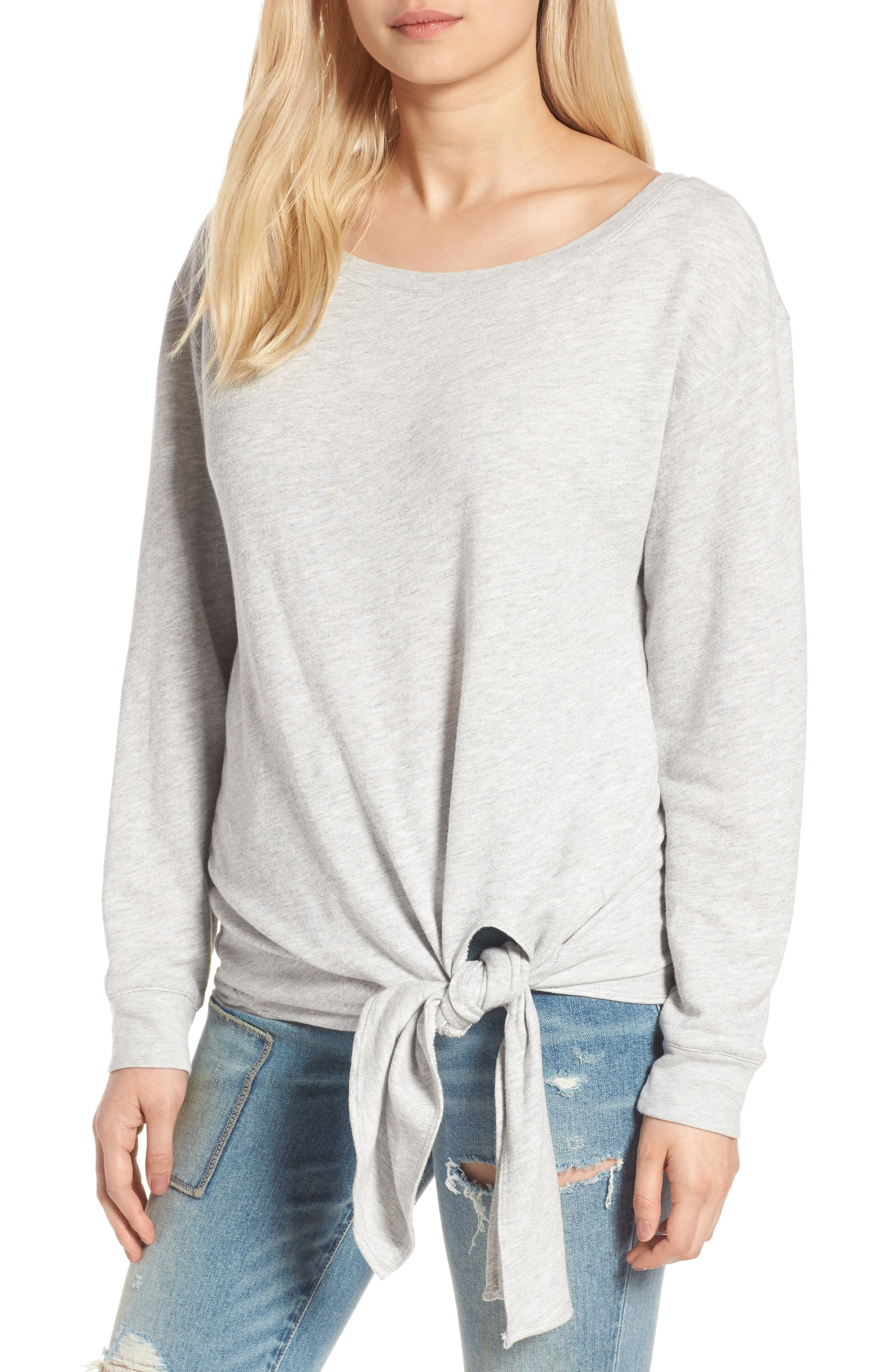 HINGE Tie Front Pullover, Main, color, 020