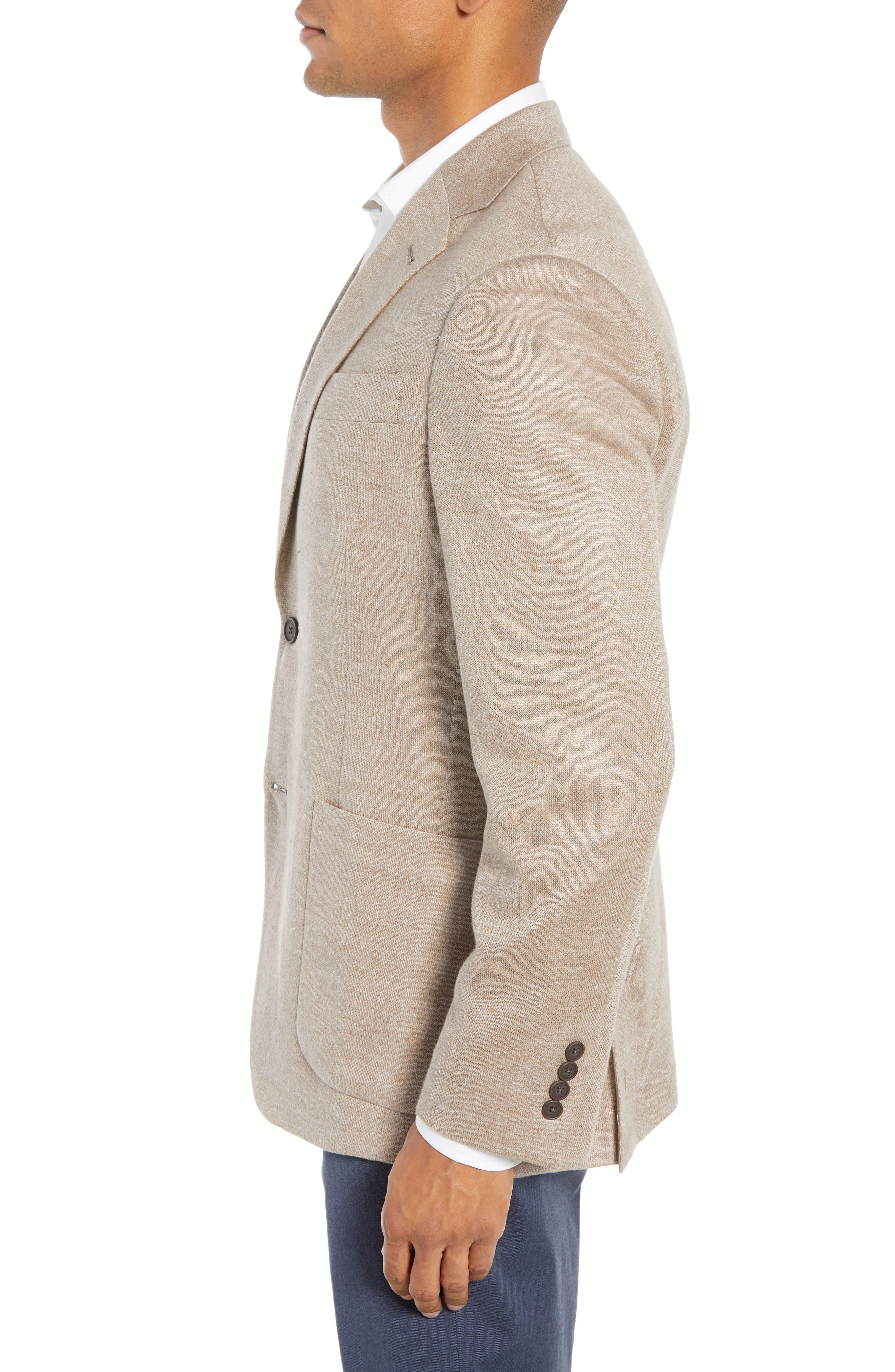 Trim Fit Linen Sport Coat,                             Alternate thumbnail 3, color,                             OATMEAL